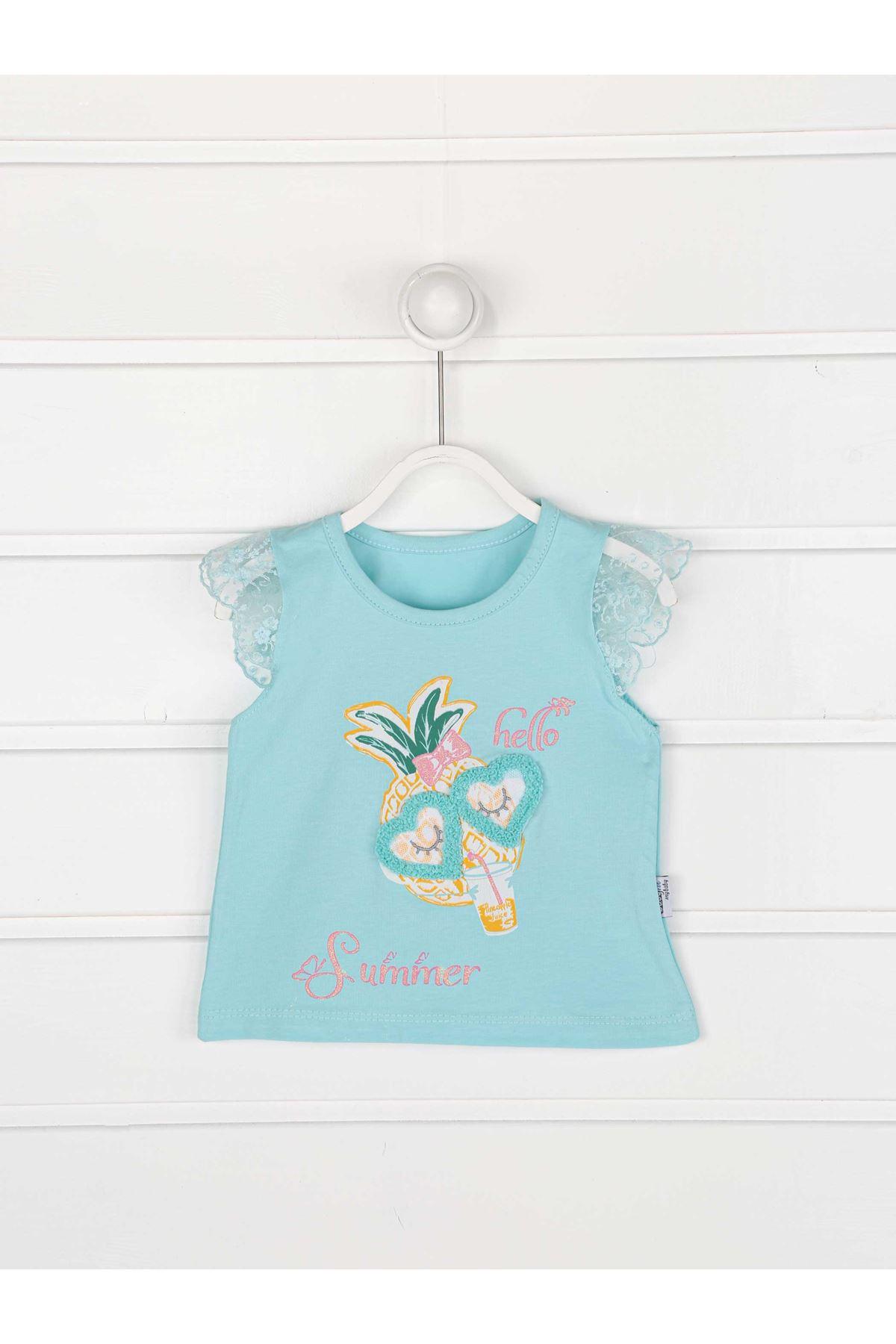Yeşil Yazlık Kız Bebek Taytlı Takım
