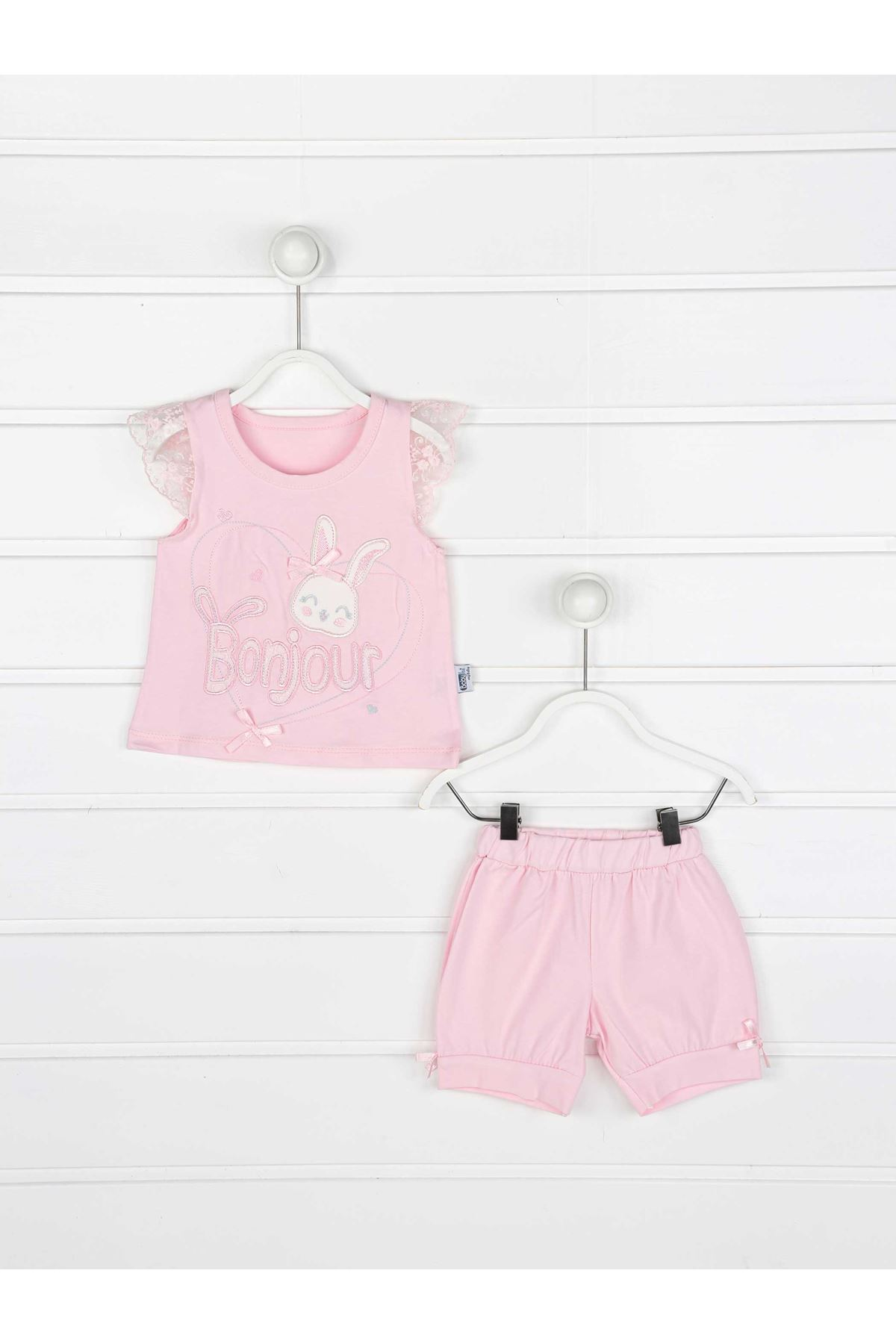 Pink summer baby girl shorts T-shirt 2-piece suit babies models cotton seasonal summer holiday clothes