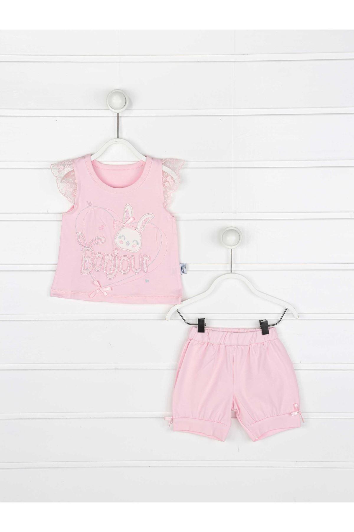 Pembe Kız Bebek Şortlu Takım