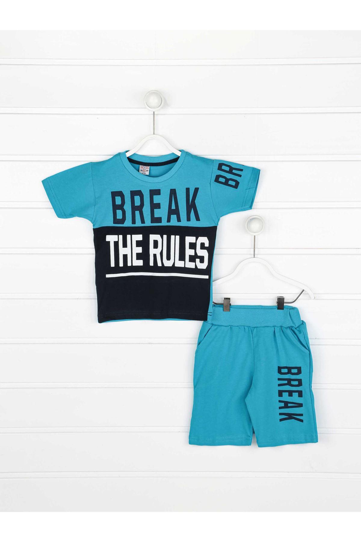 Mavi Erkek Çocuk Şortlu Takım