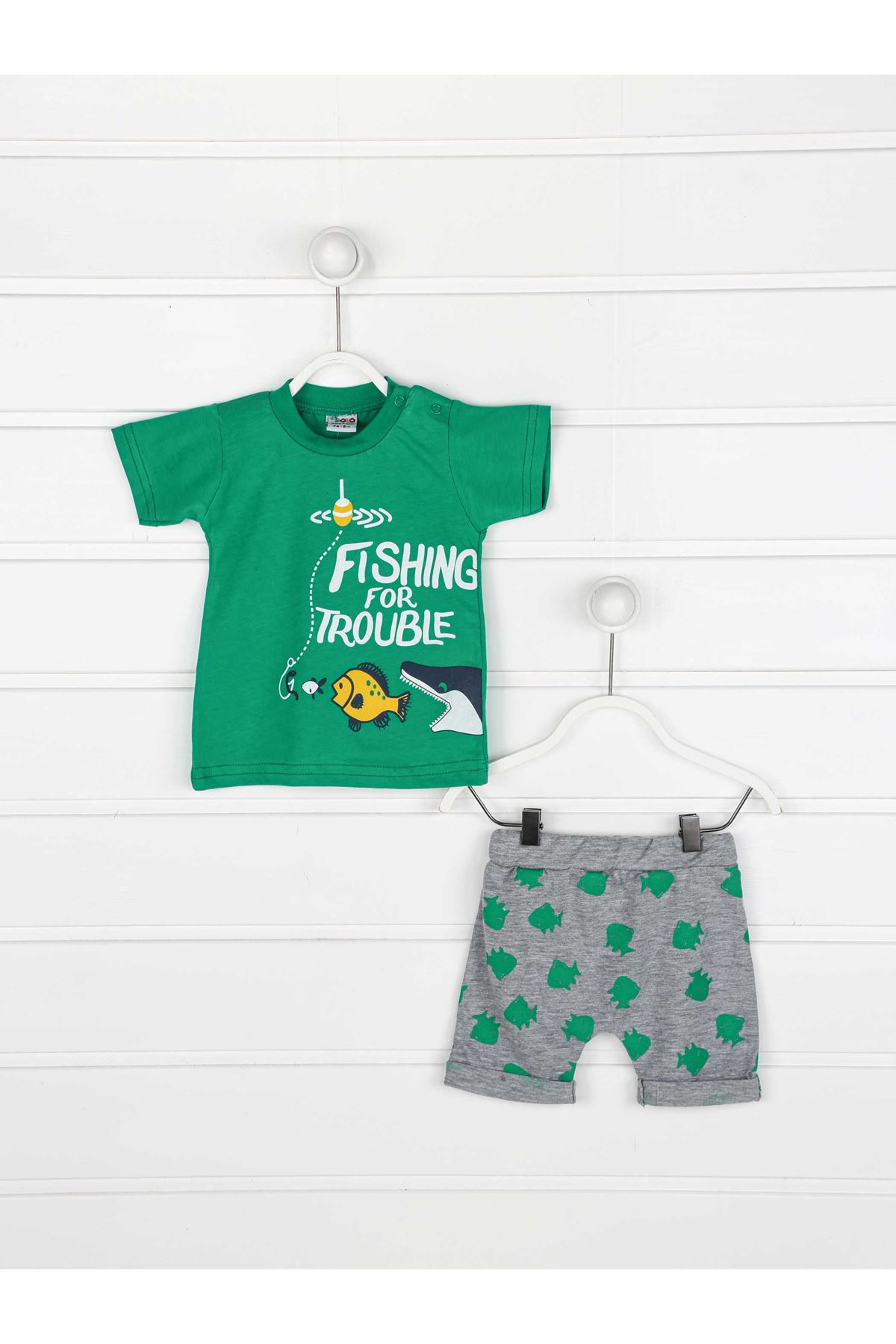 Yeşil Yazlık Erkek Bebek 2 li Takım