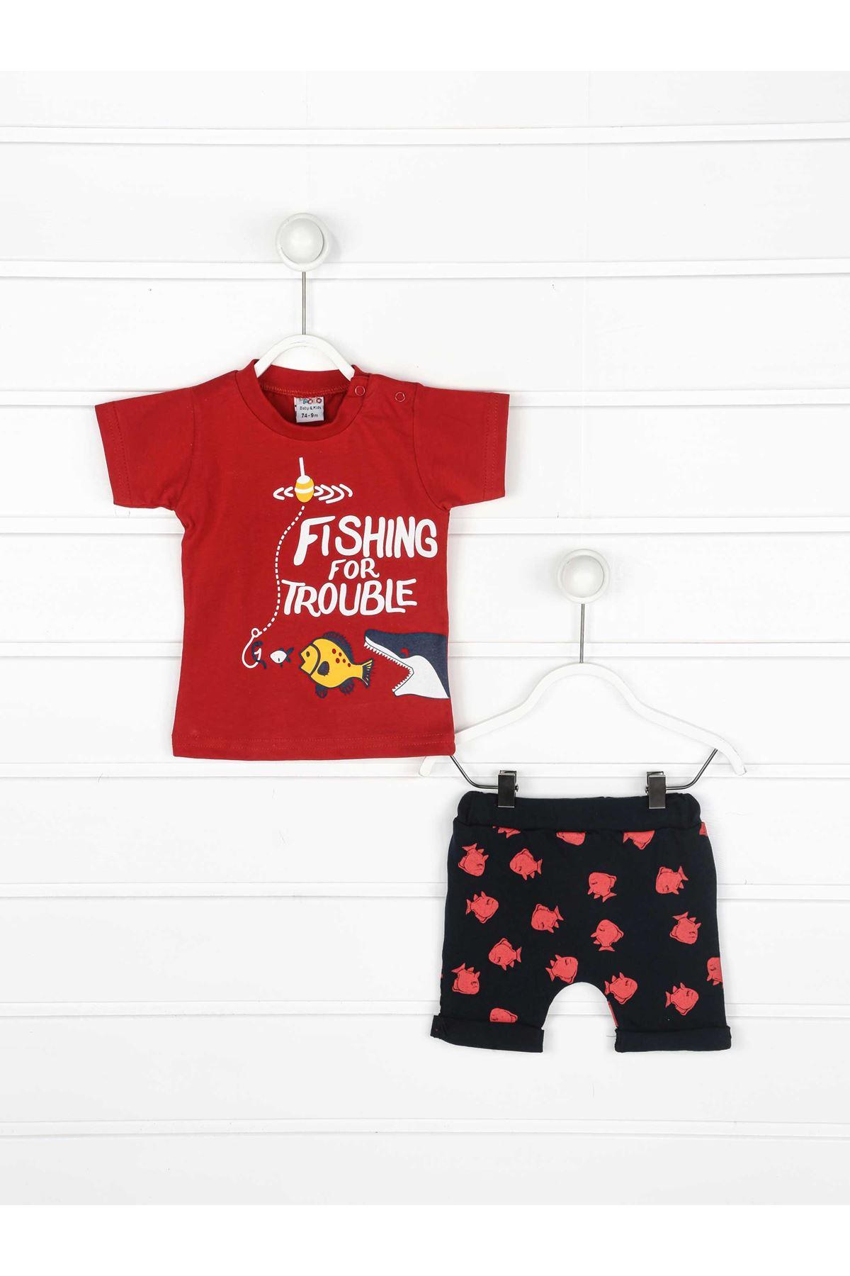 Kırmızı Yazlık Erkek Bebek 2 li Takım