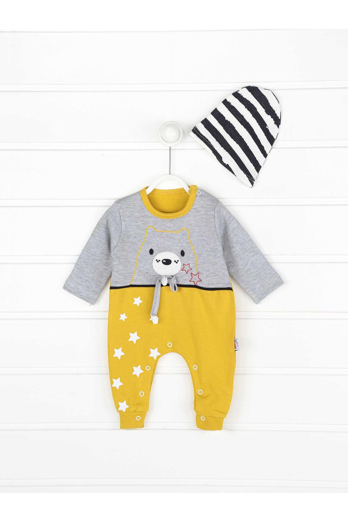 Sarı Erkek Bebek Şapkalı Tulum
