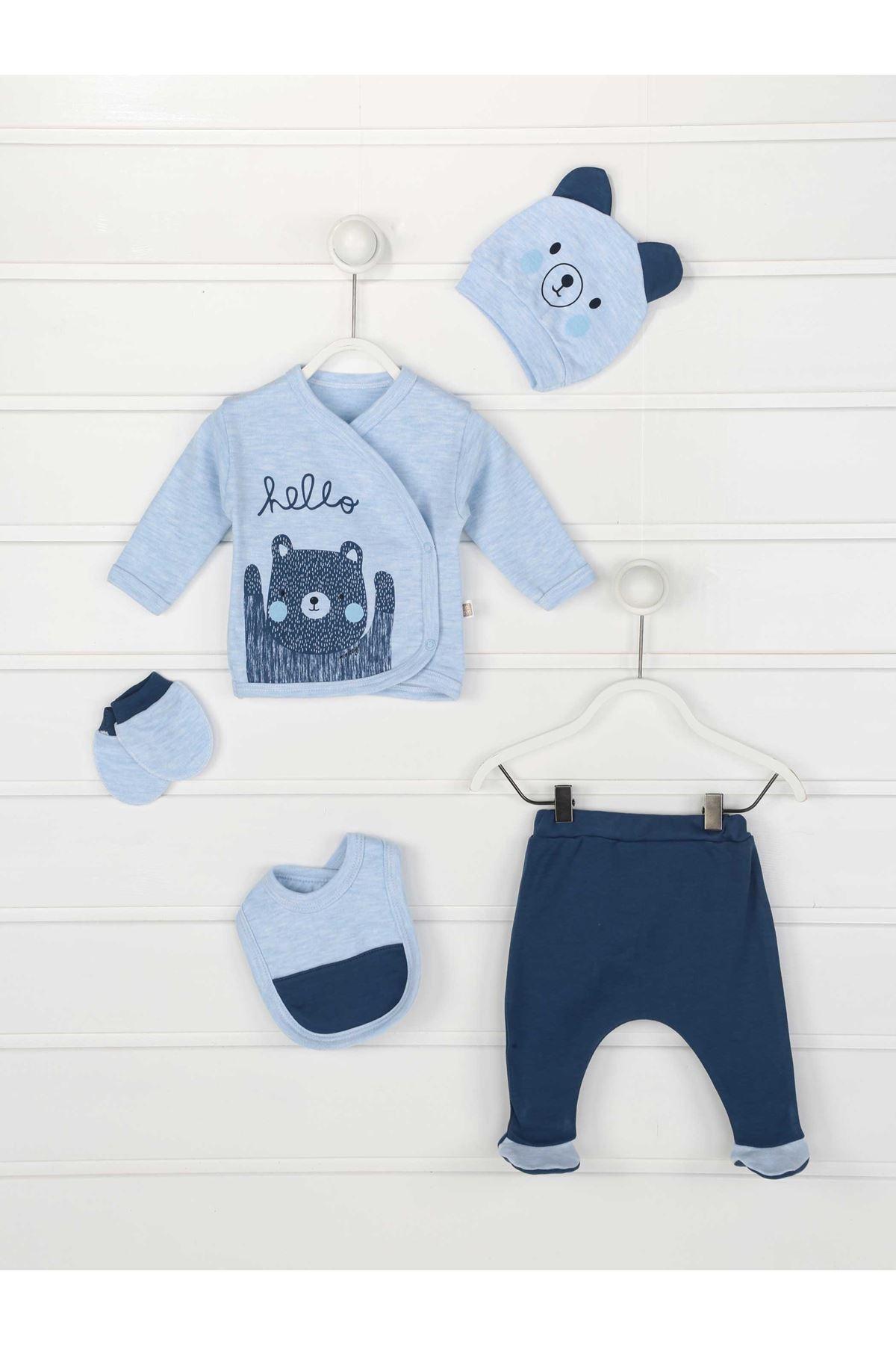 Mavi Yenidoğan Erkek Bebek 5 li Hastane Çıkışı