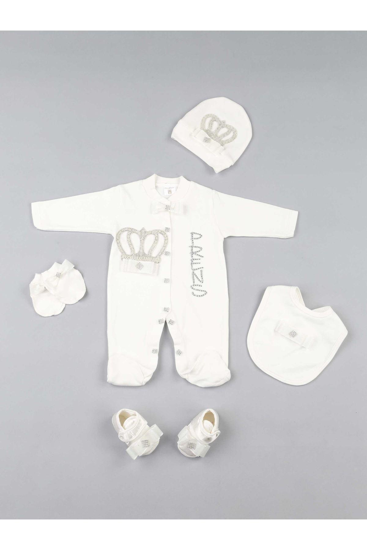 Beyaz Kral Taçlı Prens Erkek Bebek 5 li Tulum Seti