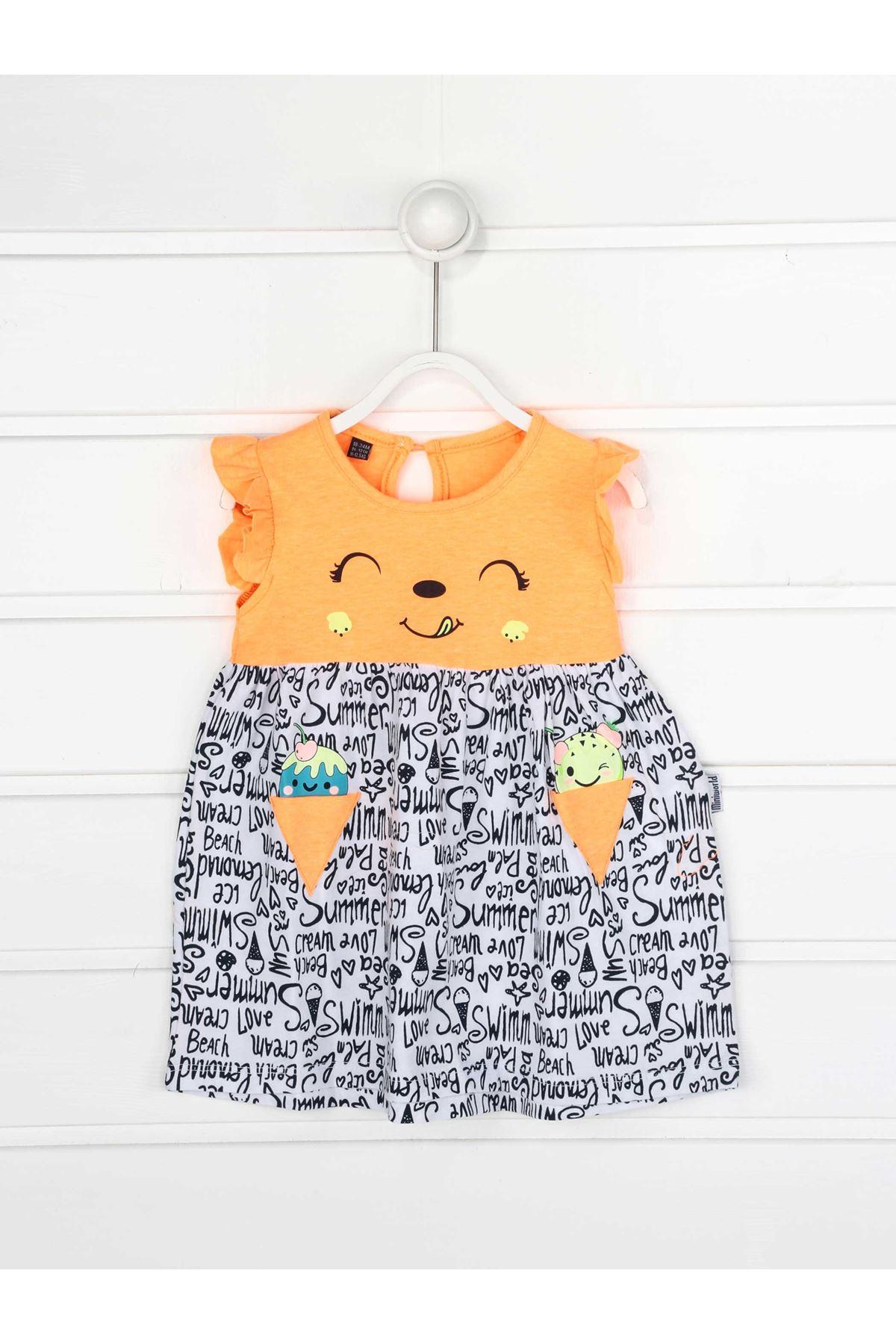 Turuncu Yazlık Kız Bebek Elbise