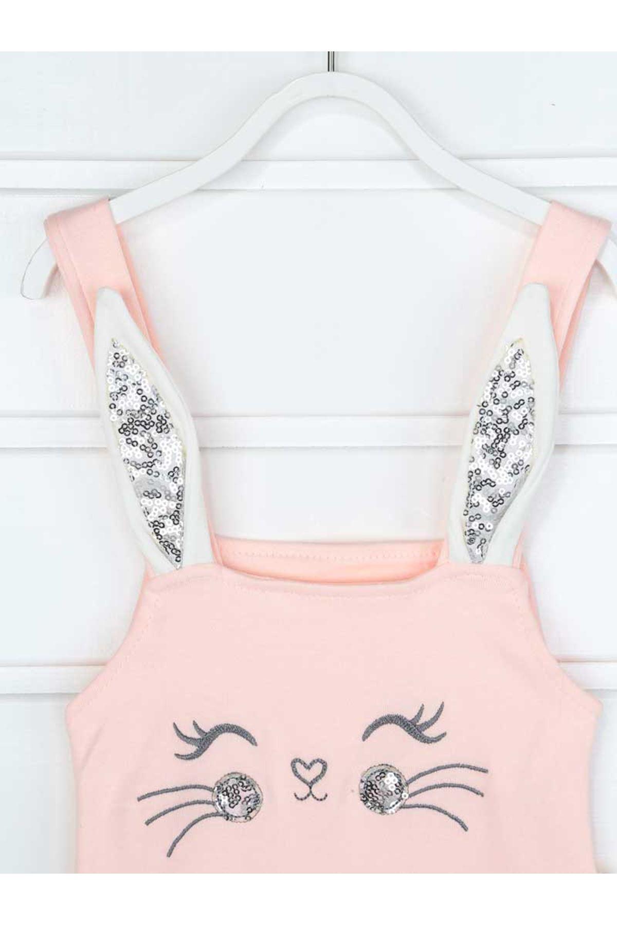 Pudra Yazlık Kız Bebek Tavşan Kulaklı Tulum