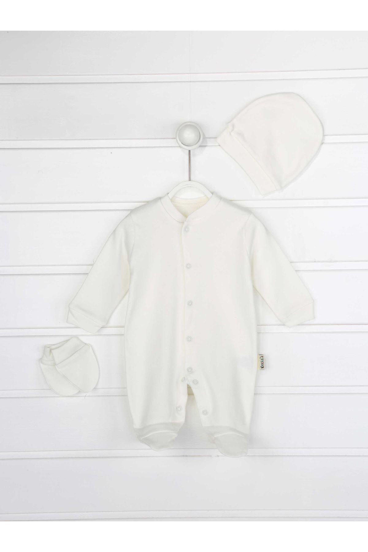 Beyaz Erkek Bebek 3 lü Tulum