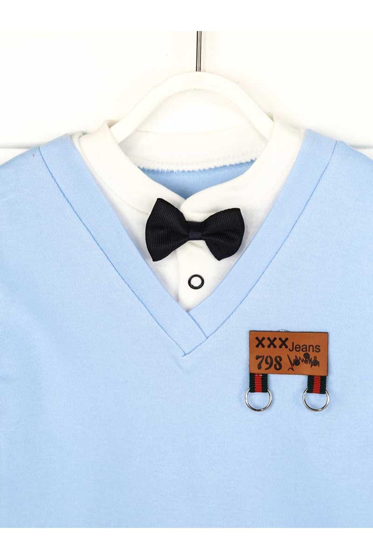 Mavi Yazlık Papyonlu Erkek Bebek 2 li Takım