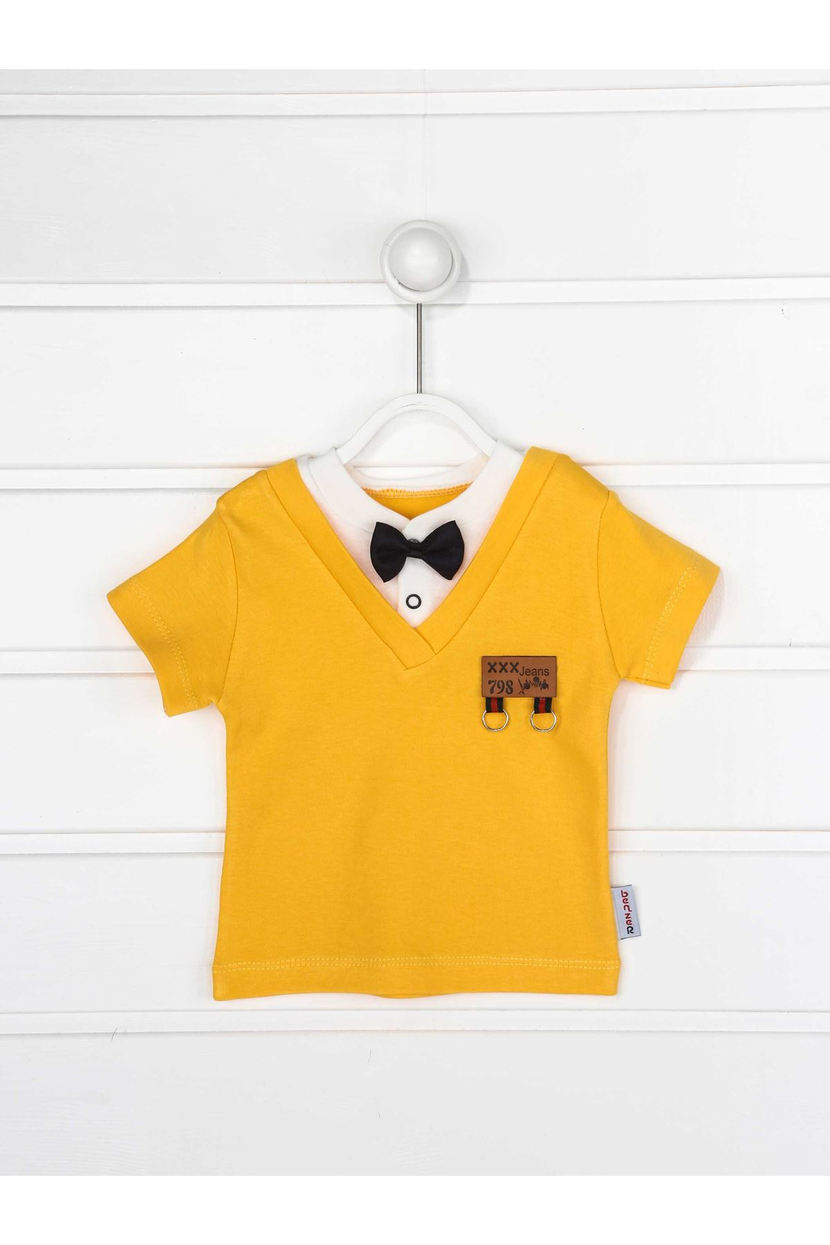 Sarı Yazlık Papyonlu Erkek Bebek 2 li Takım