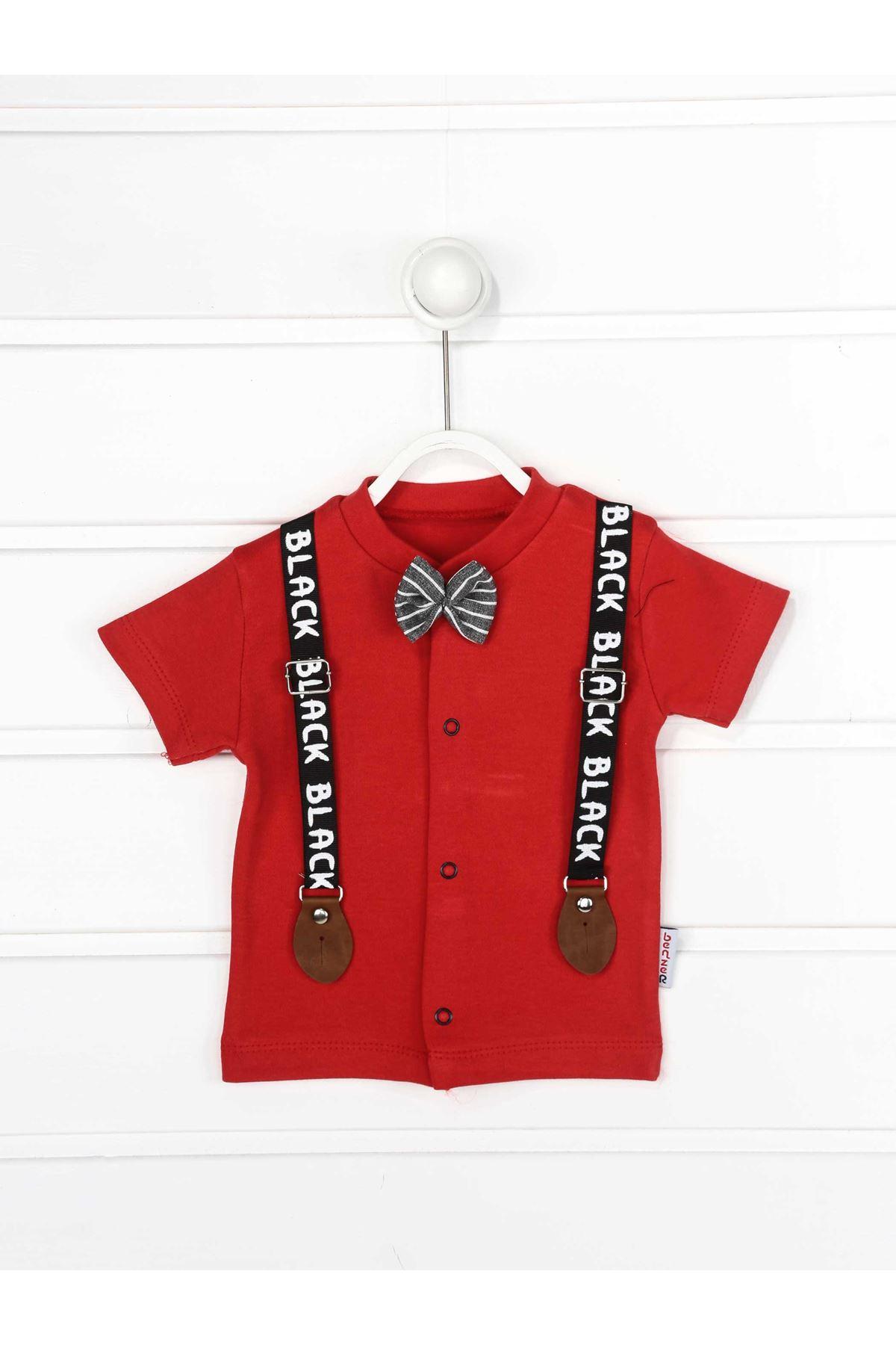 Kırmızı Yazlık Papyonlu Erkek Bebek 2 li Takım