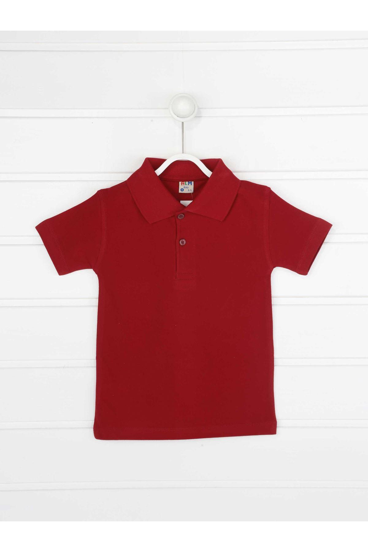 Bordo Polo Yaka Pamuklu Çocuk Basic Tişört