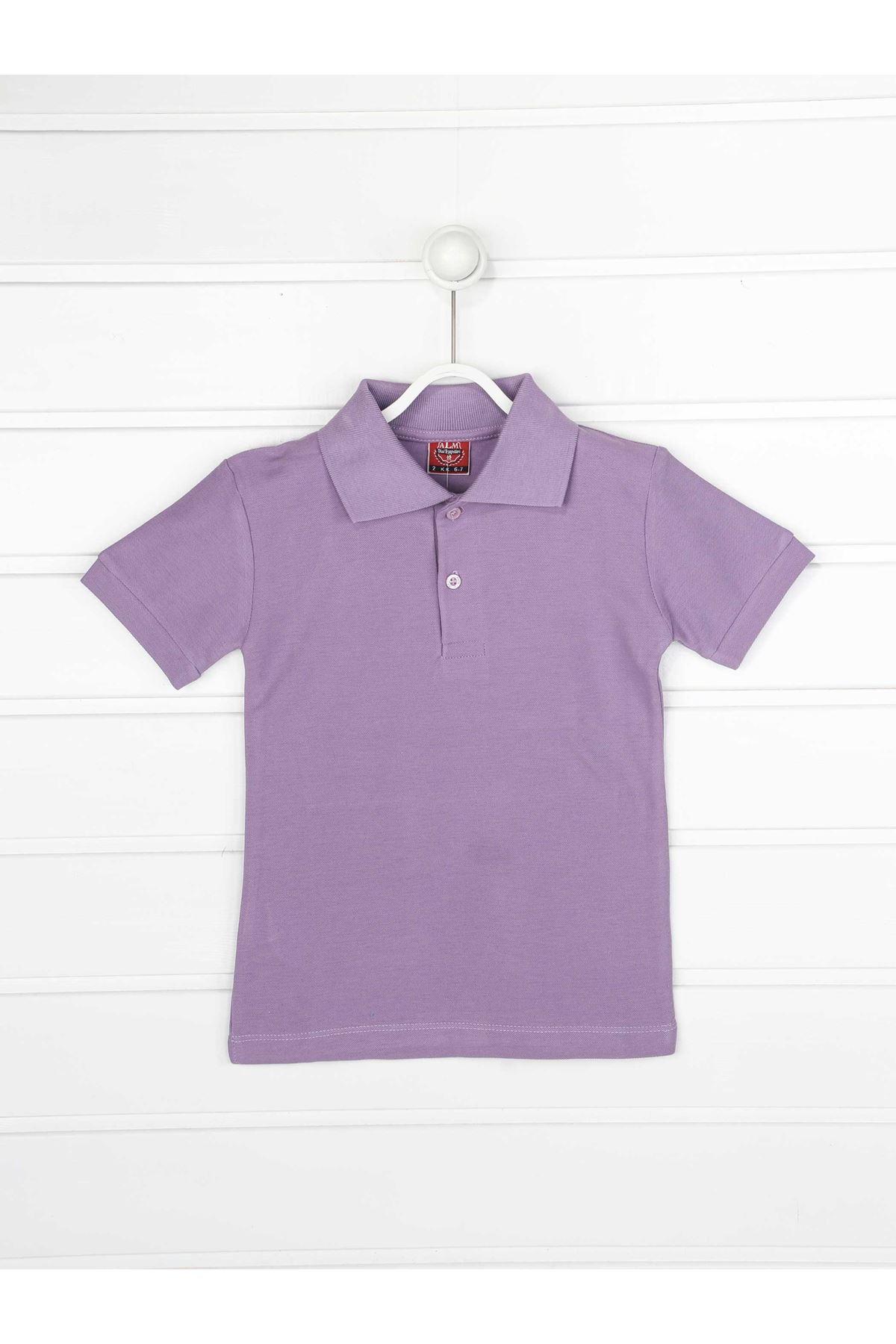 Lila Polo Yaka Pamuklu Çocuk Basic Tişört
