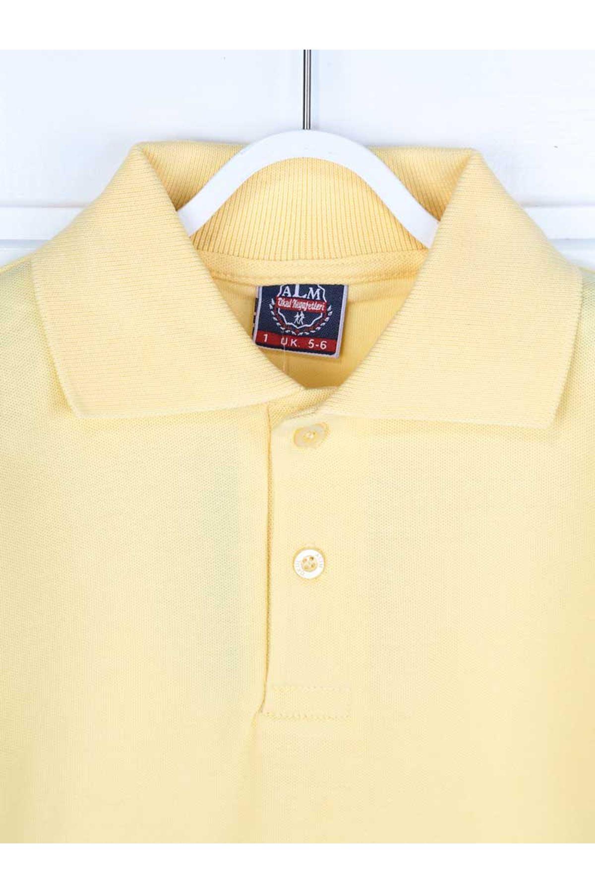 Sarı Polo Yaka Pamuklu Çocuk Basic Tişört