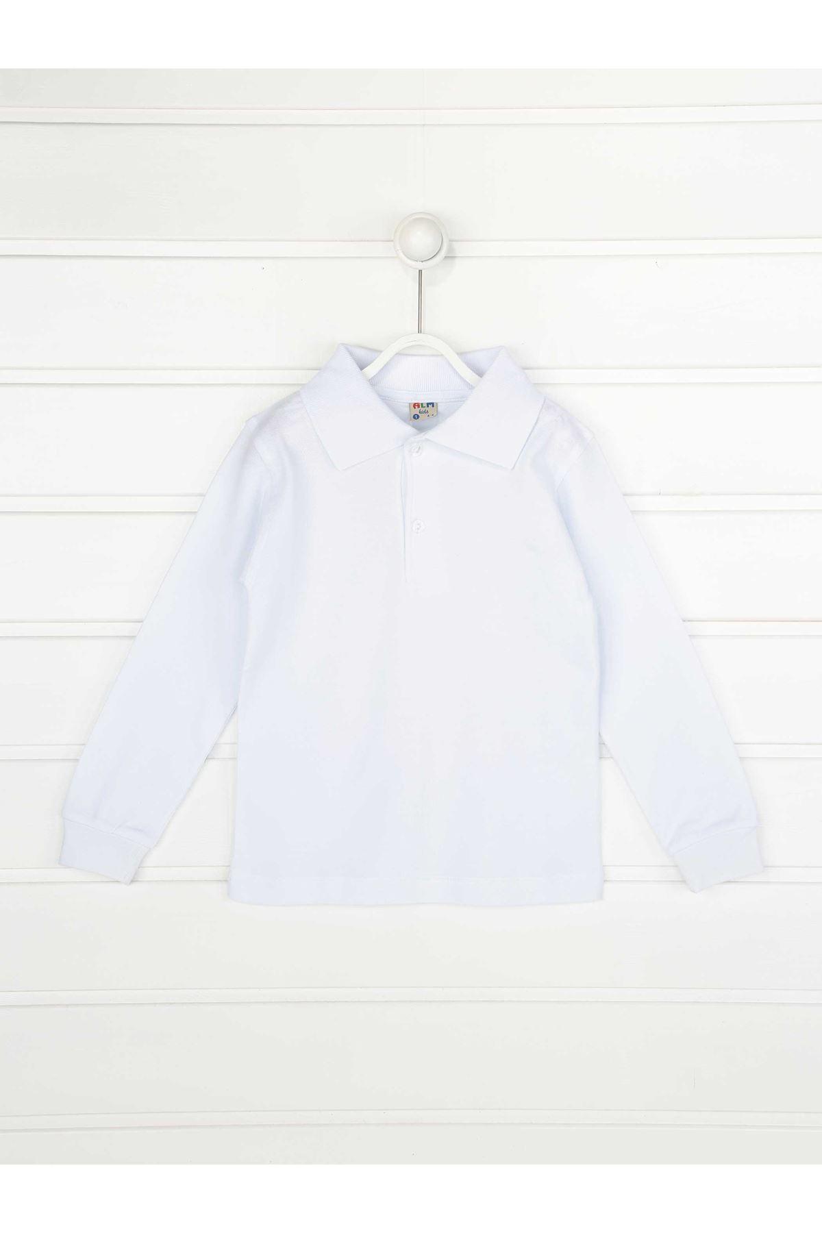 Beyaz Polo Yaka Pamuklu Çocuk Basic Tişört