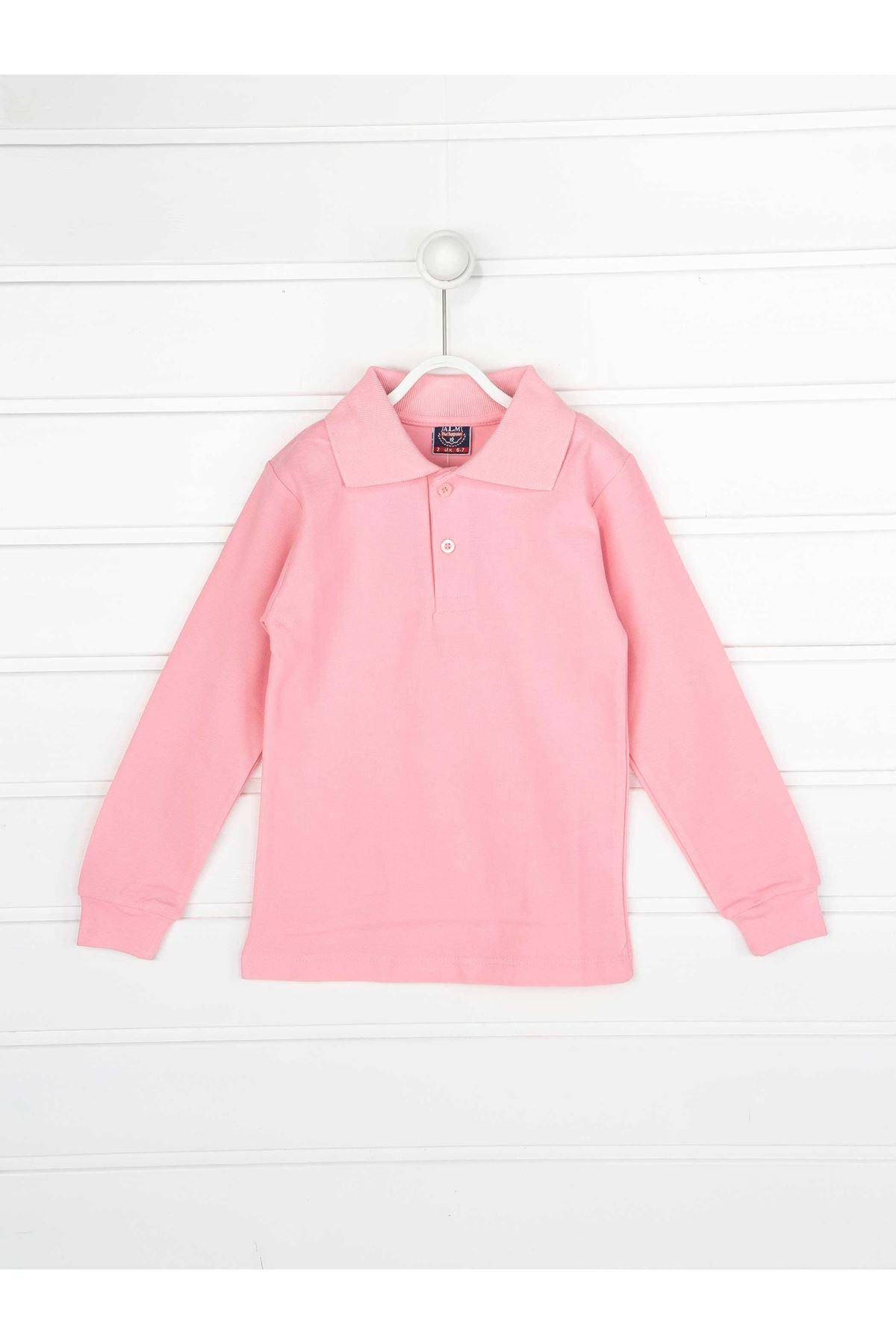 Pembe Polo Yaka Pamuklu Çocuk Basic Tişört