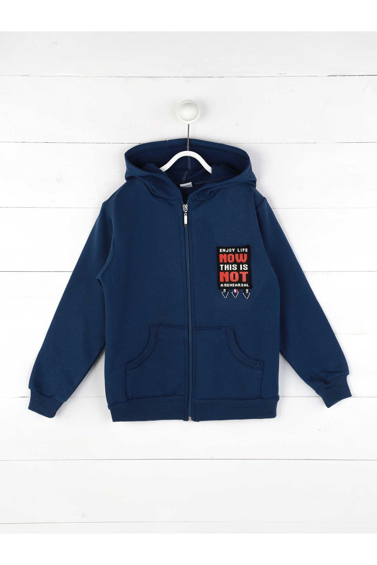 İndigo Kışlık Kapşonlu Erkek Çocuk Ceket