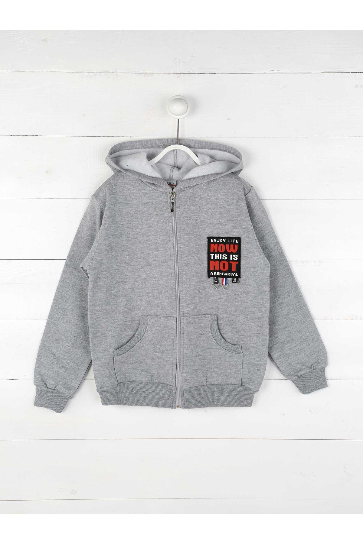 Gri Kışlık Kapşonlu Erkek Çocuk Ceket