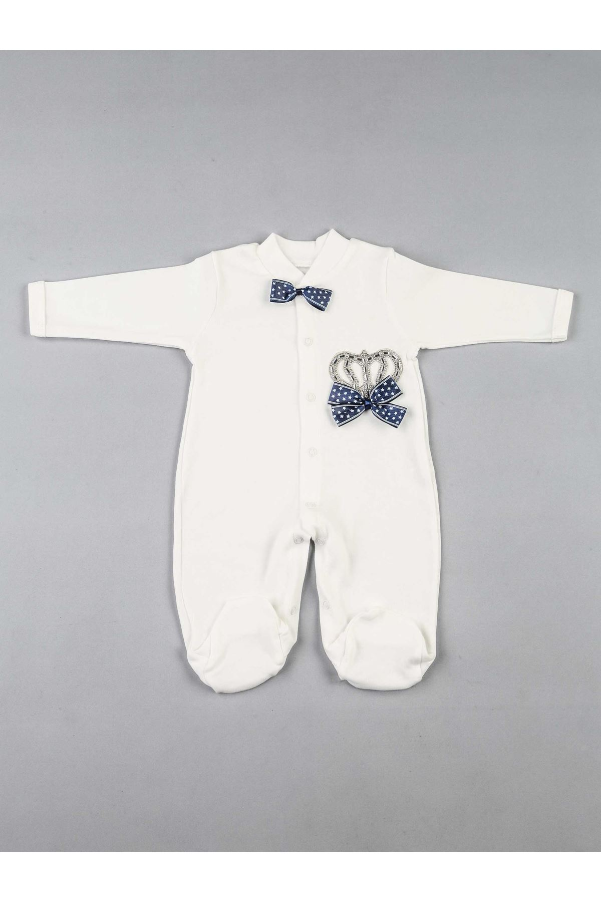 Navy blue baby boy king-crowned 3-piece suit overalls hospital outlet newborn rompers hat gloves cotton casual models