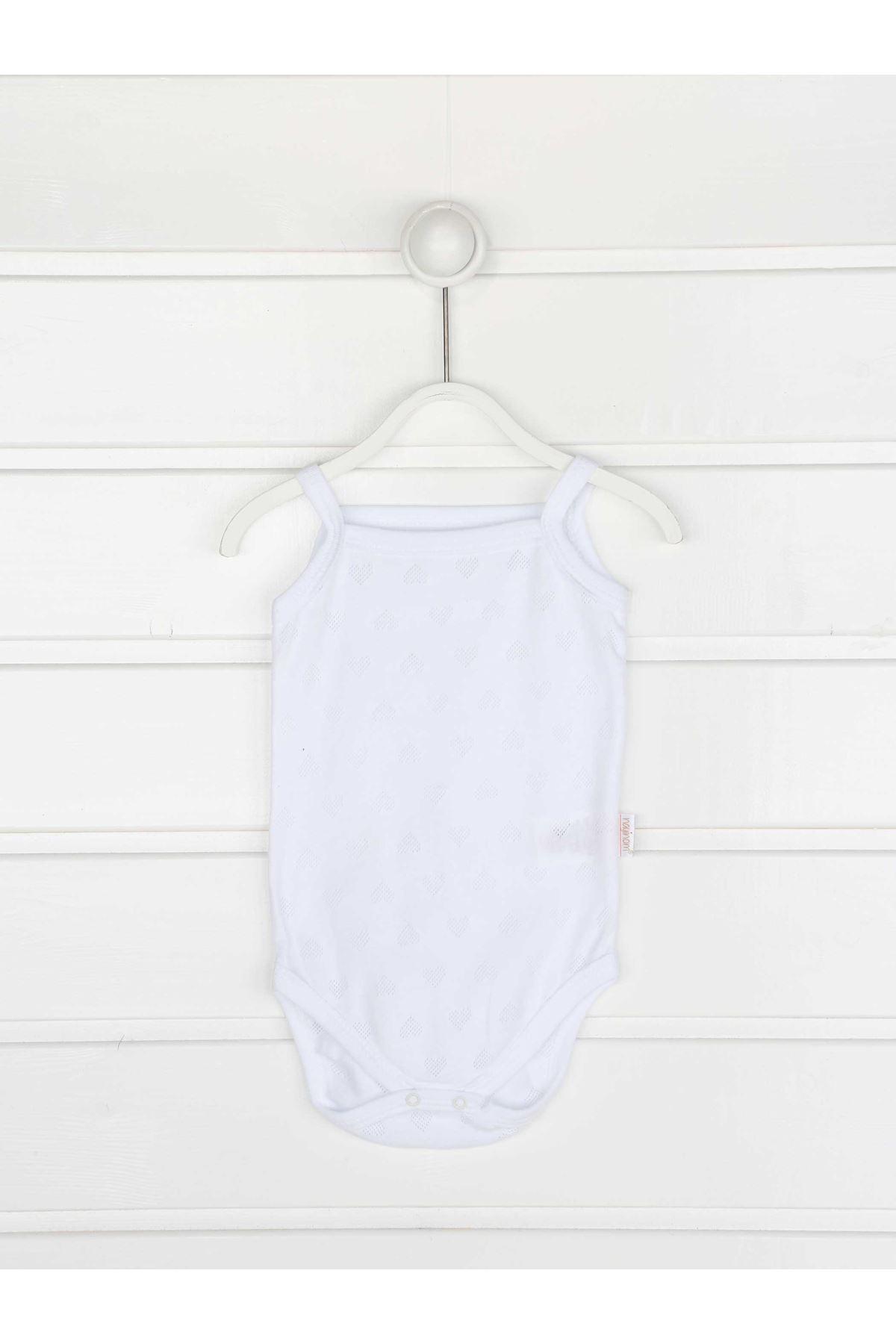 Beyaz İp Askılı Kız Bebek Badi