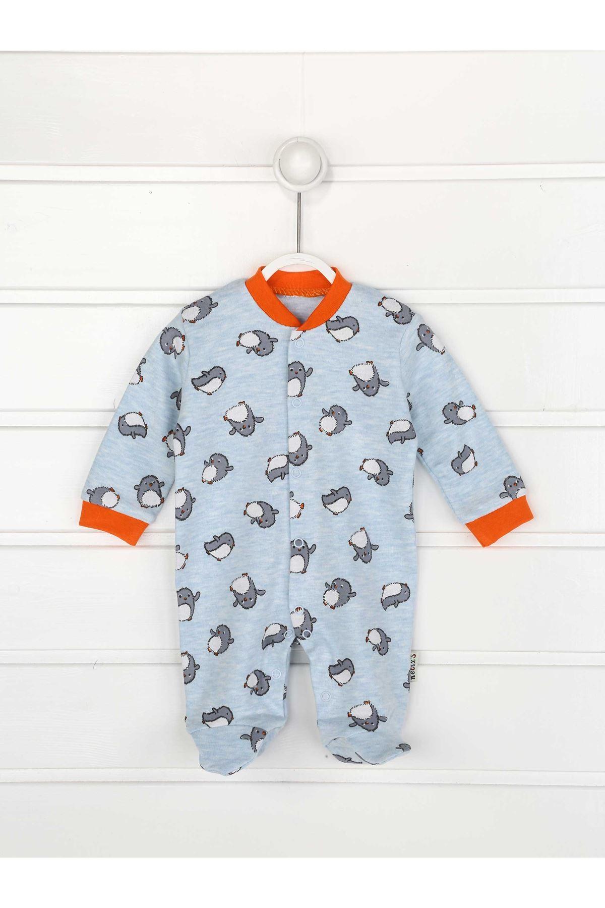 Mavi Erkek Bebek Penguenli Tulum