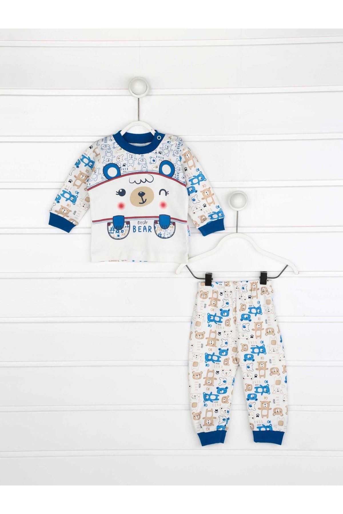 Mavi Erkek Bebek Pijama Takımı