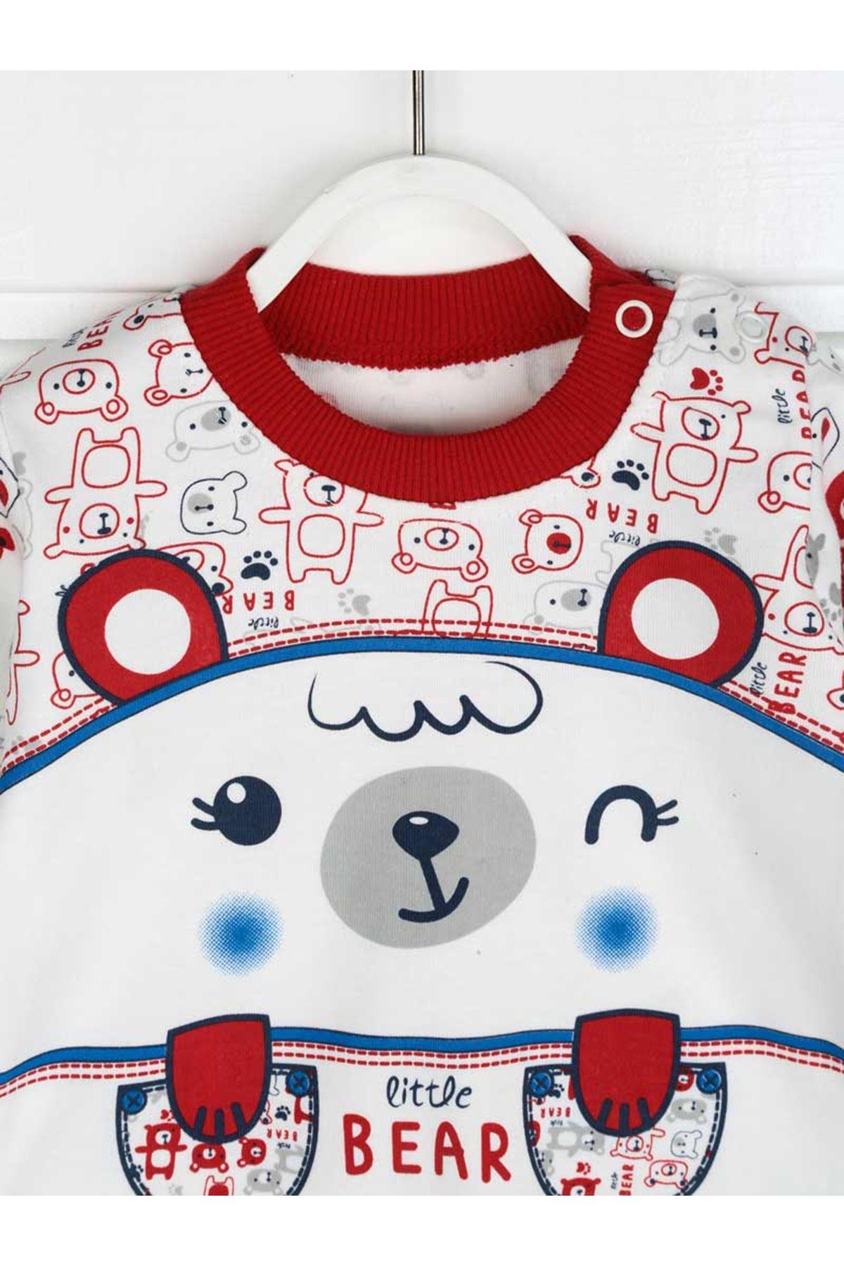 Kırmızı Erkek Bebek Pijama Takımı