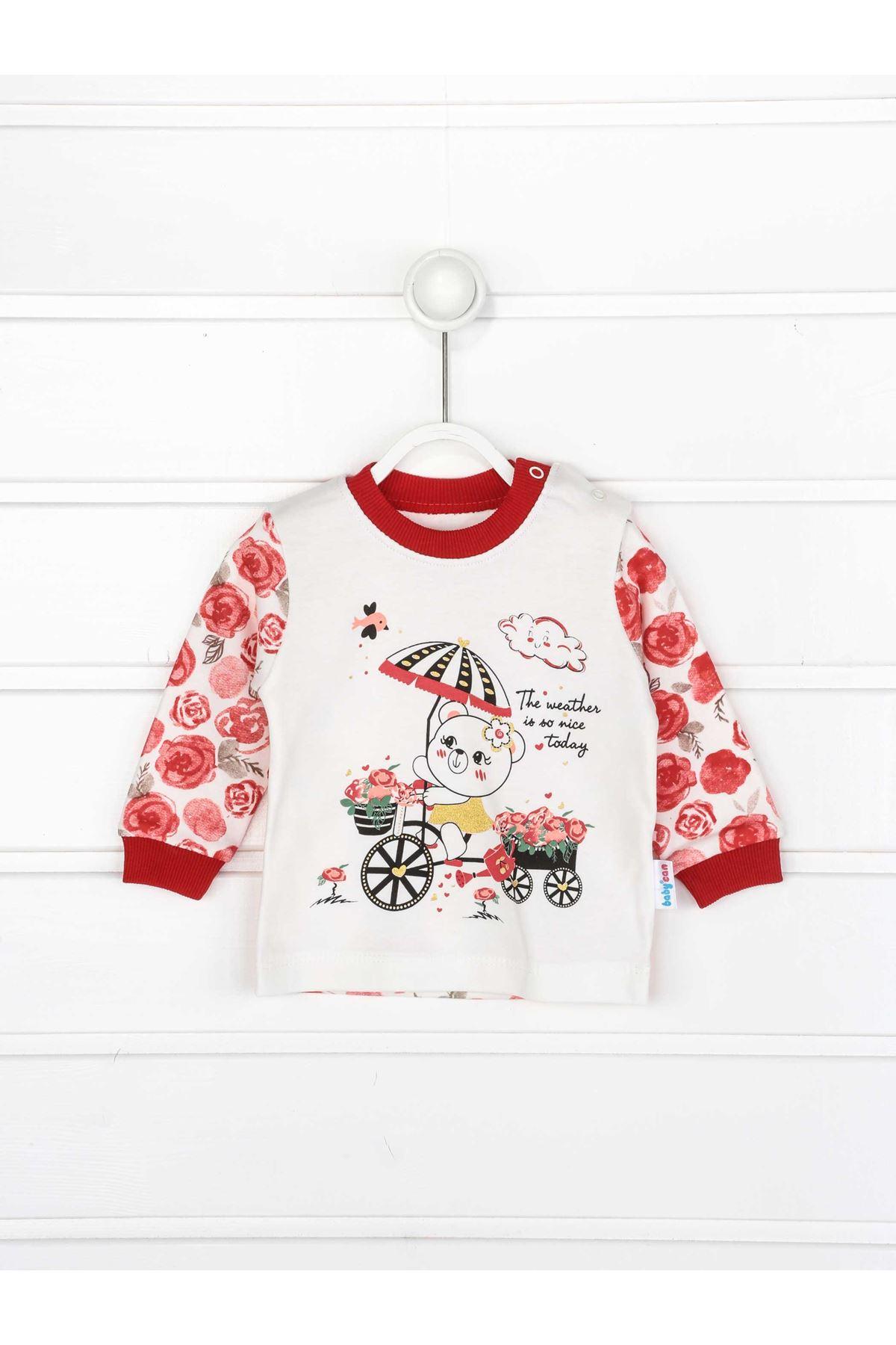 Kırmızı Kız Bebek Pijama Takımı