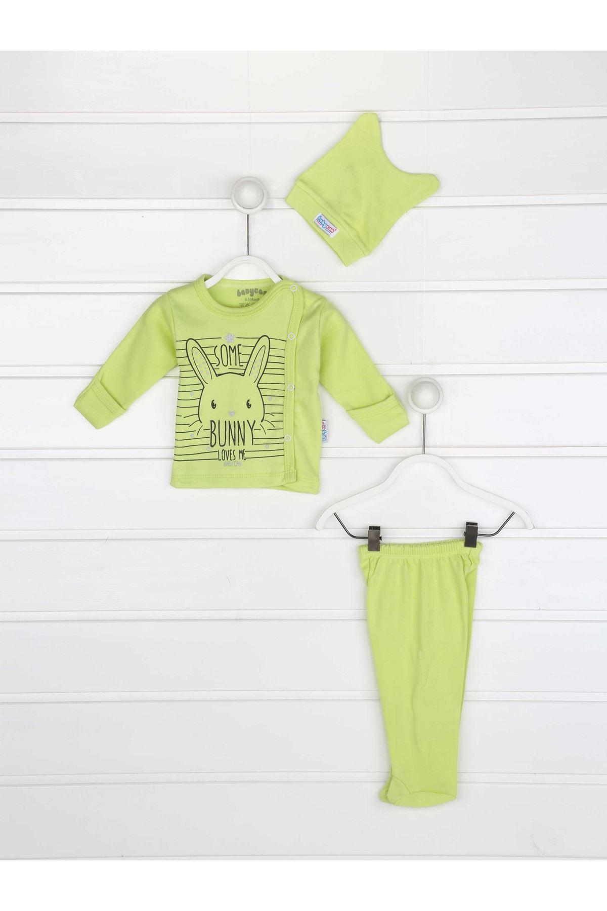 Yeşil Kundak Eldivenli Erkek Bebek 3 lü Zıbın Takımı