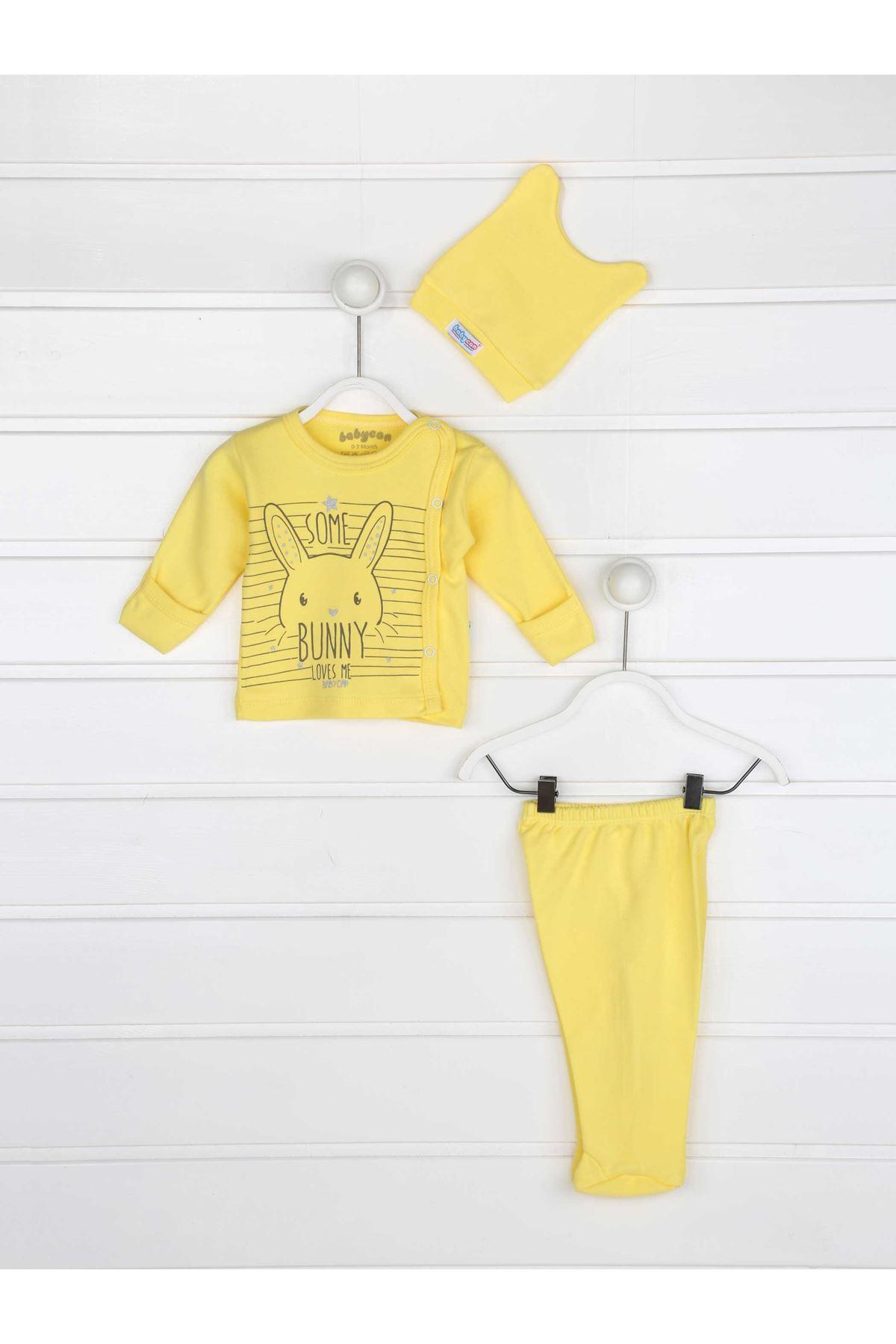 Sarı Kundak Eldivenli Erkek Bebek 3 lü Zıbın Takım
