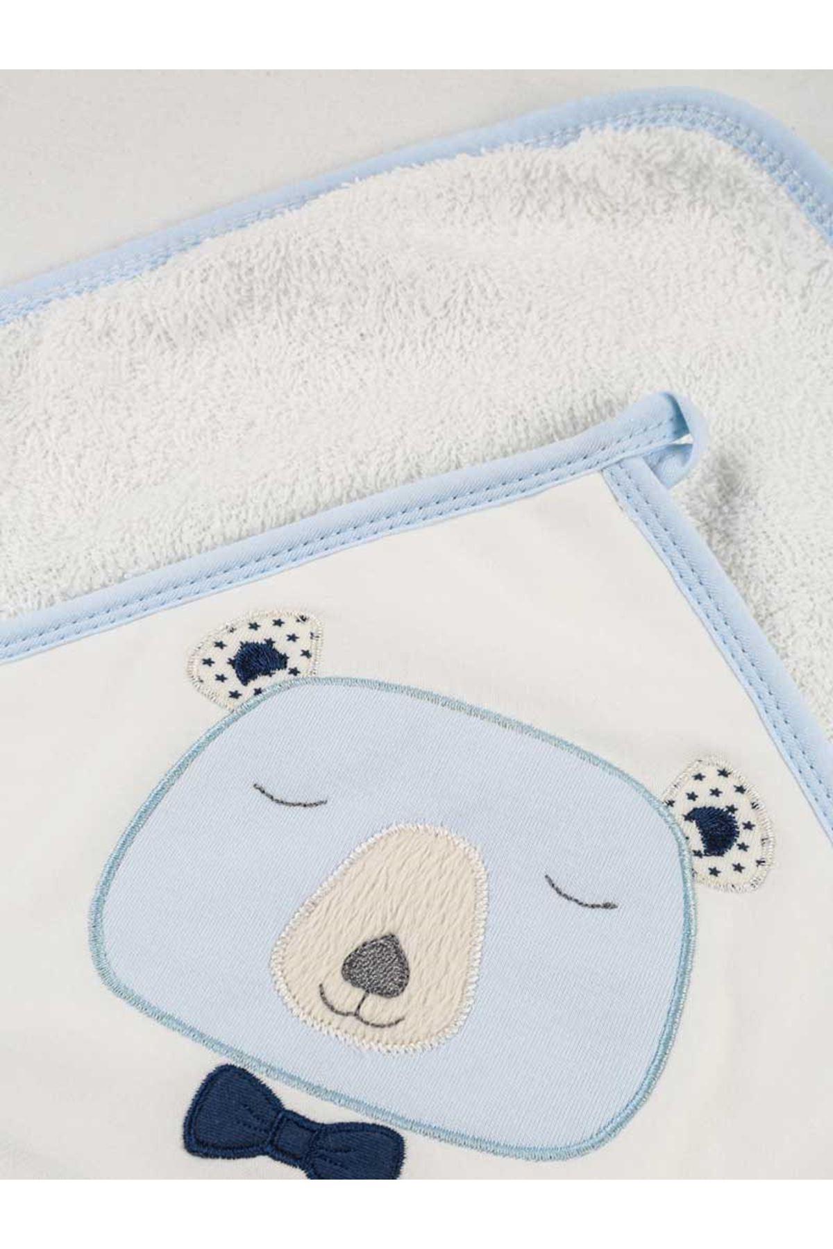 Mavi Müslİn Erkek Bebek Pamuklu Kundak Banyo Havlusu