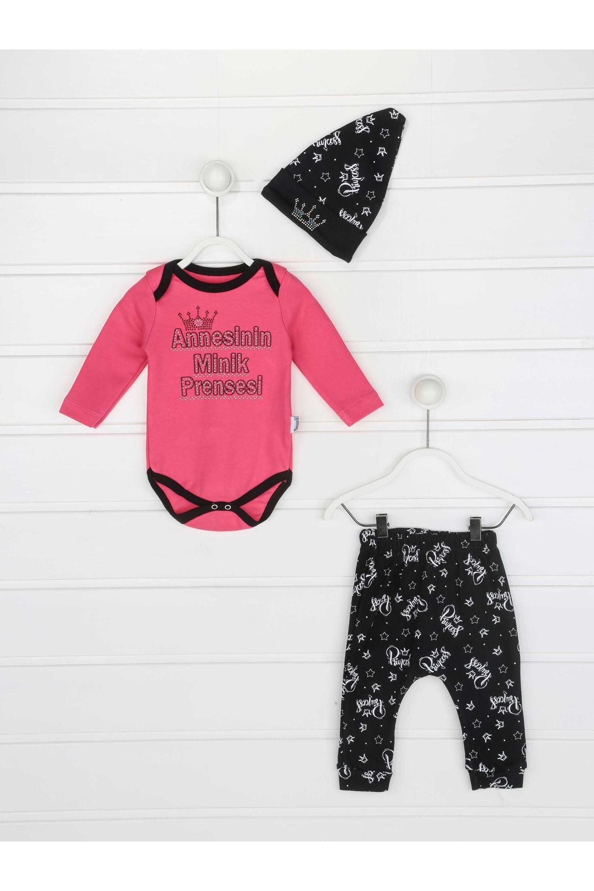 Fuchsia Mother Tiny Princess Baby Girl 3 Pcs Set