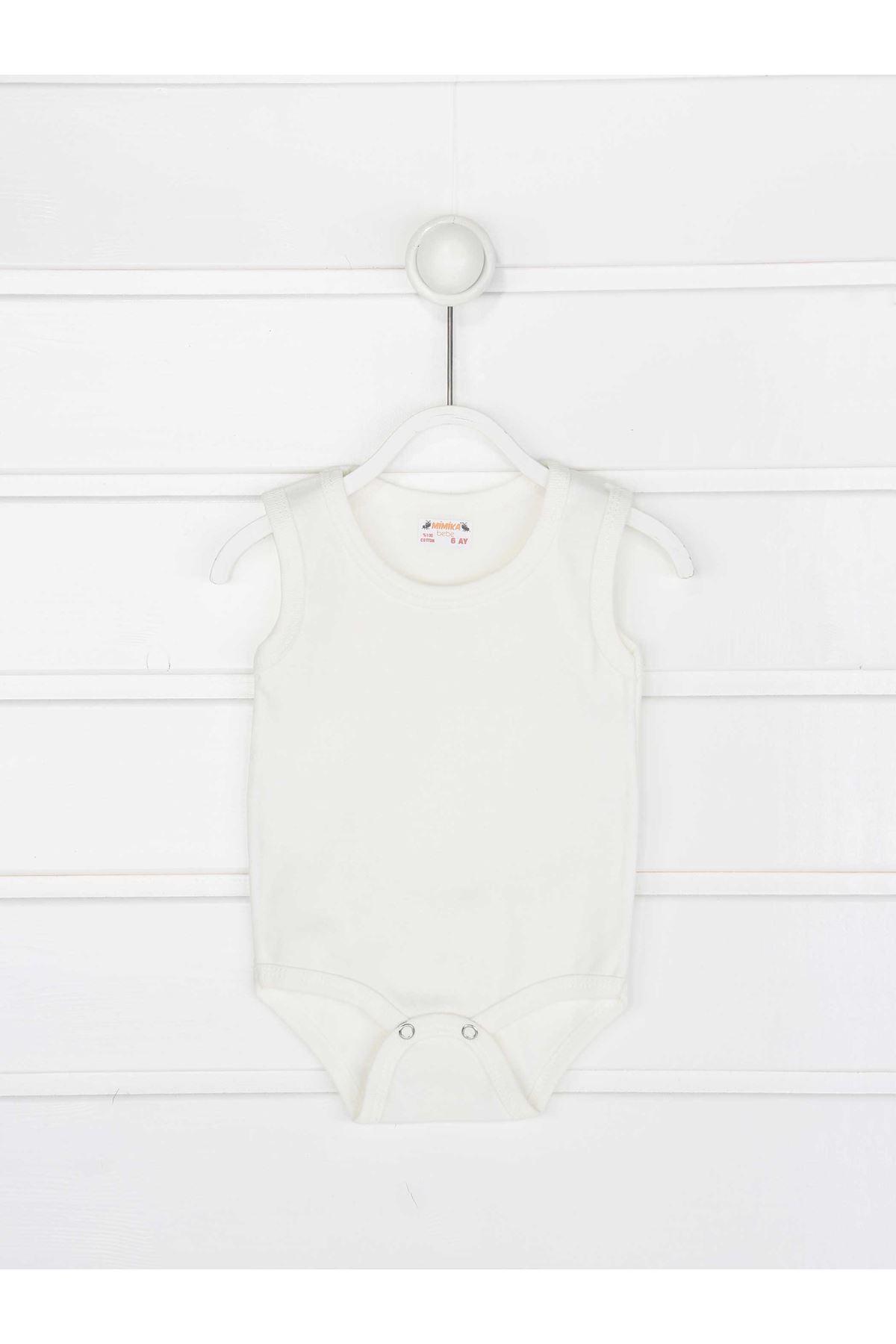 Krem Askılı Kız Bebek Badi