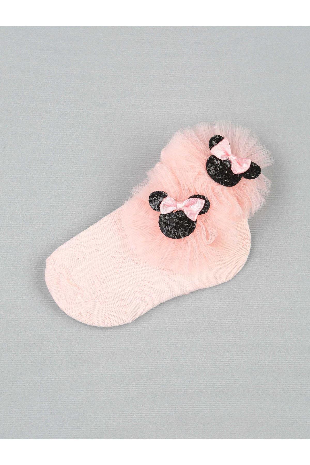 Pembe Fiyonklu Tüllü Kız Çocuk Çorap