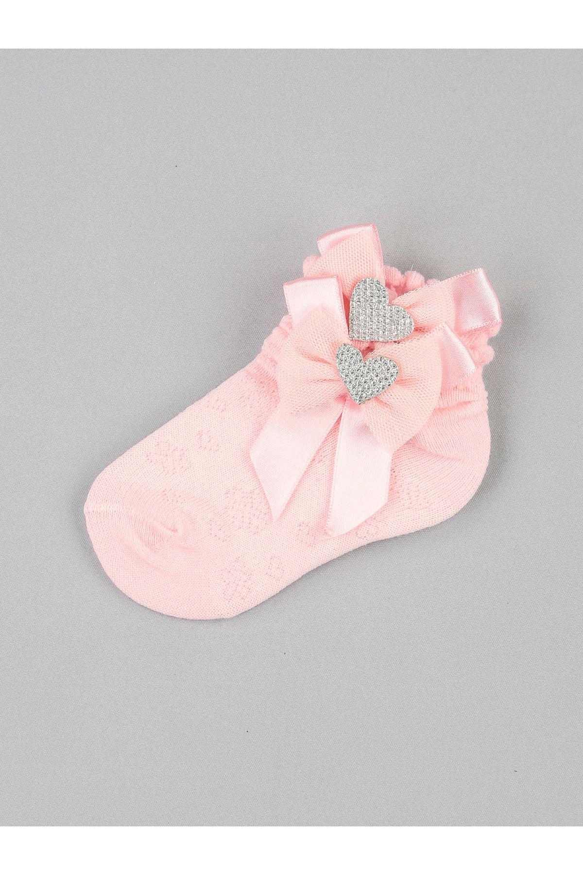 Pembe Fiyonklu Kalpli Kız Bebek Çorap