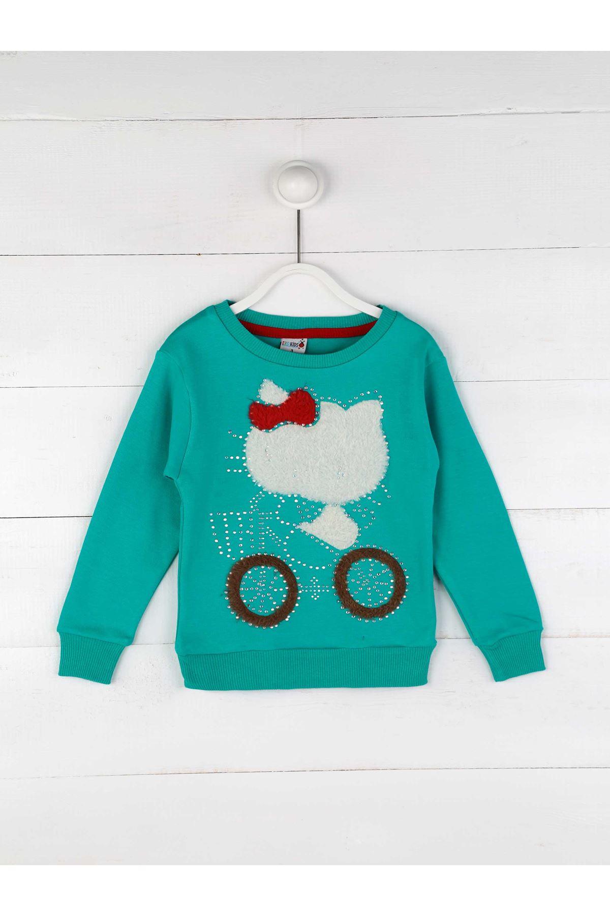 Petrol Yeşili Kışlık Kız Çocuk Sweatshirt