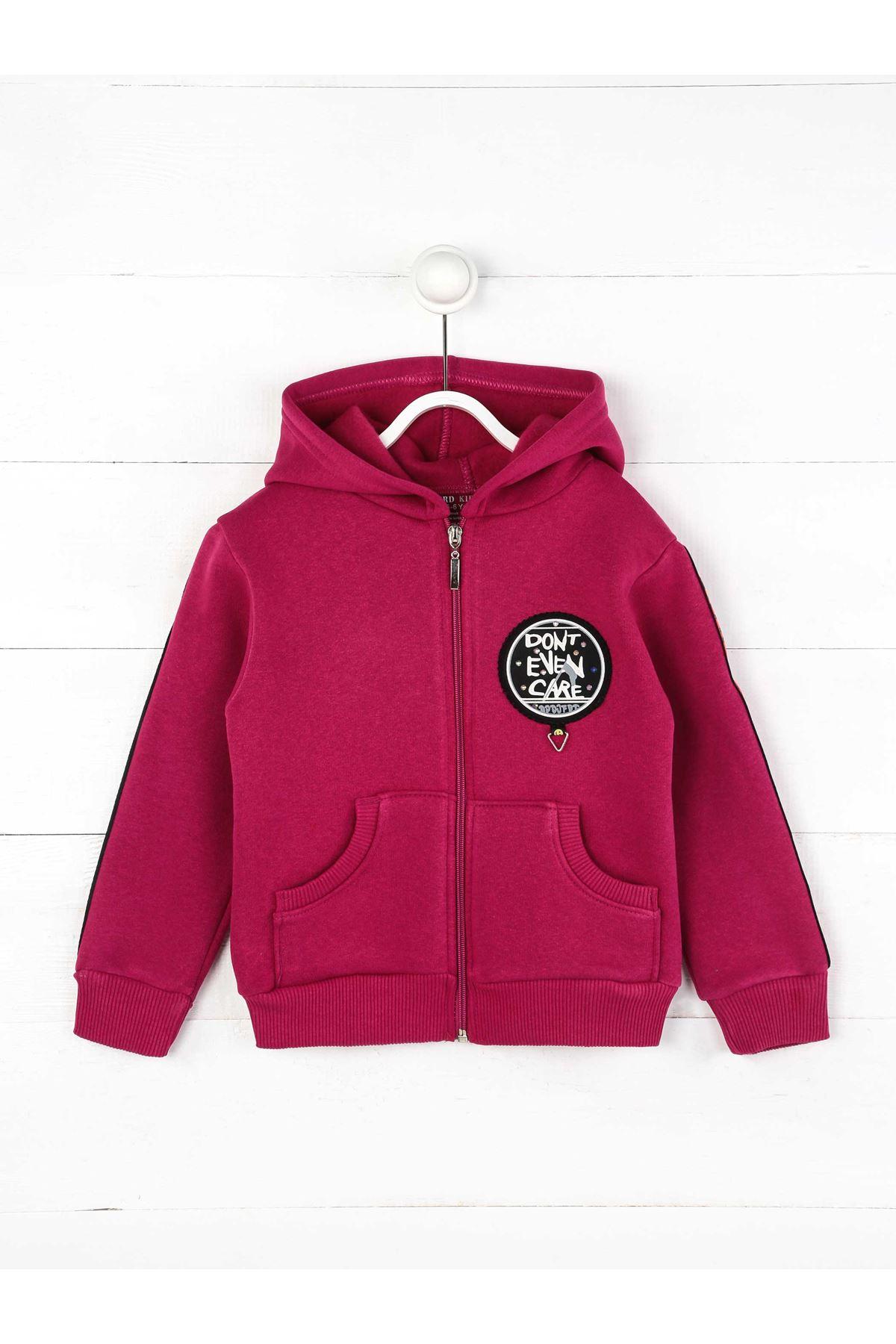 Mor Kışlık Kapüşonlu Kız Çocuk Ceket