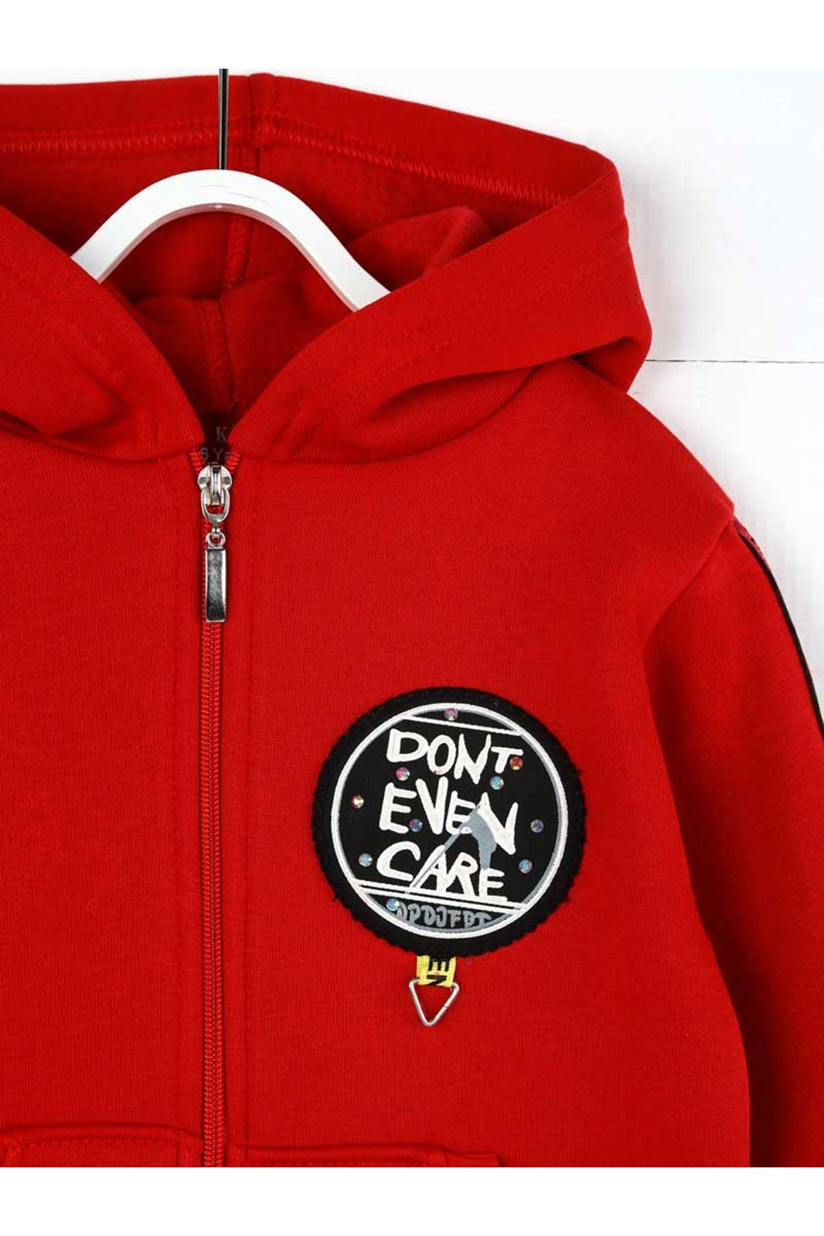 Kırmızı Kışlık Kapüşonlu Kız Çocuk Ceket