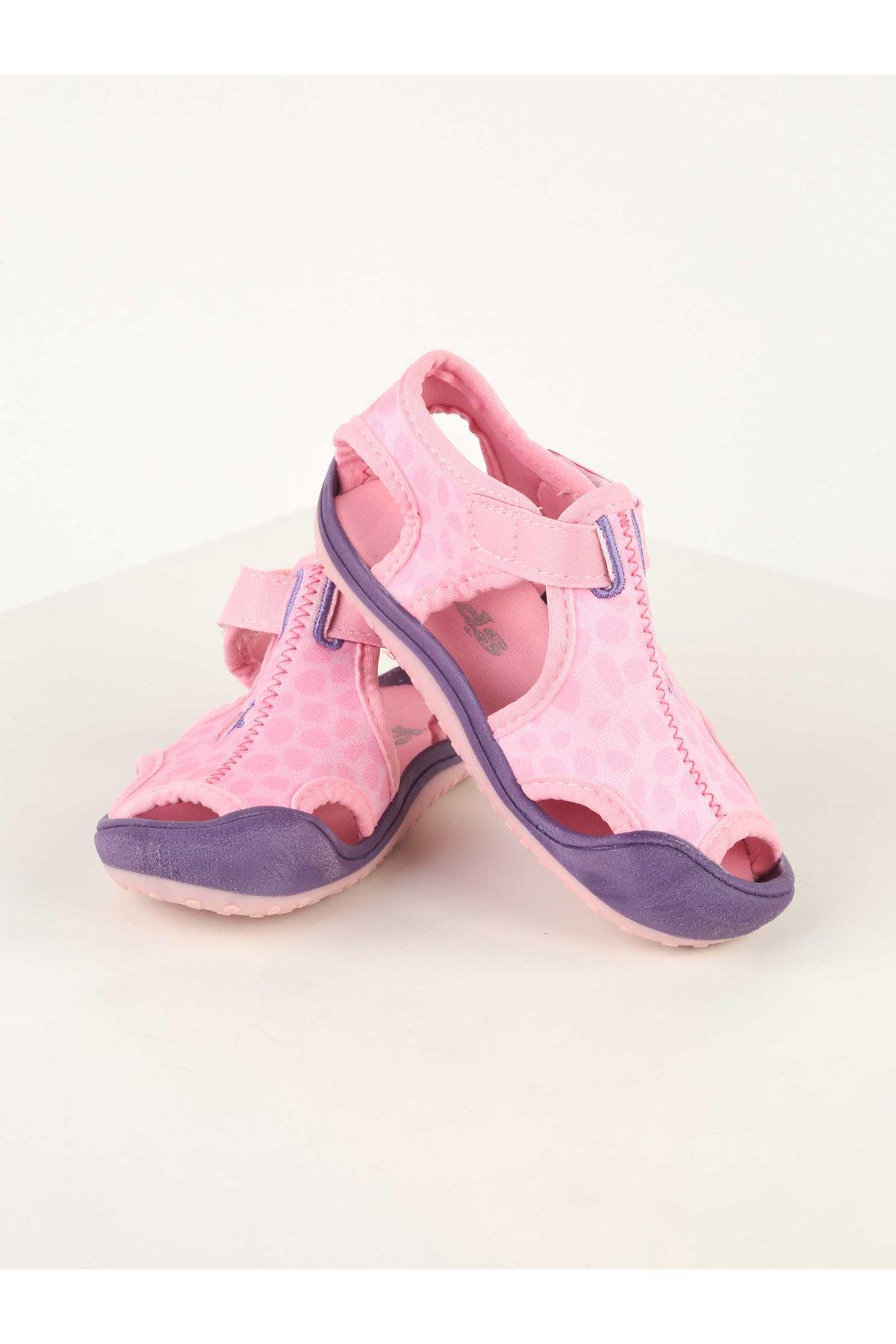 Pembe Desenli Kız Bebek Sandalet Ayakkabı