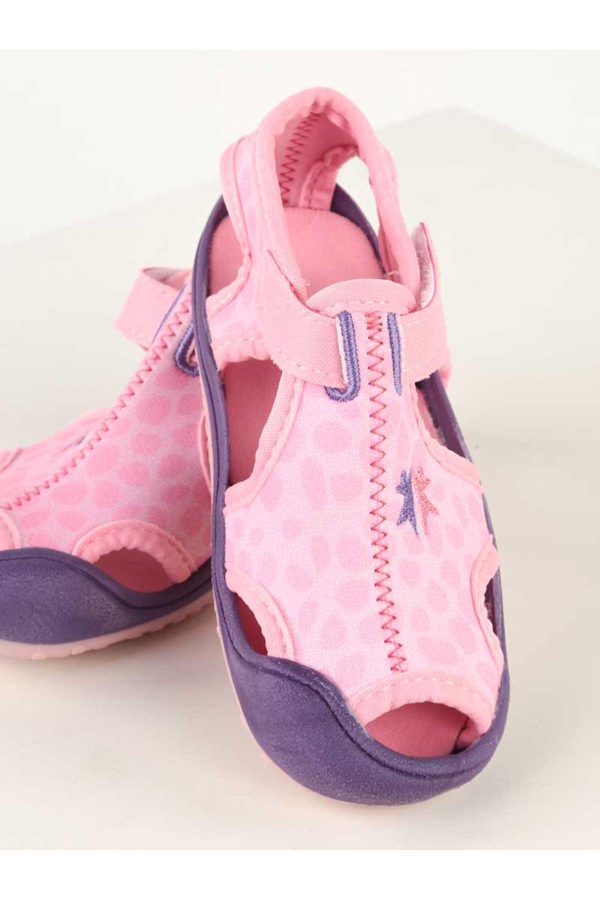 Pembe Desenli Kız Çocuk Sandalet Ayakkabı