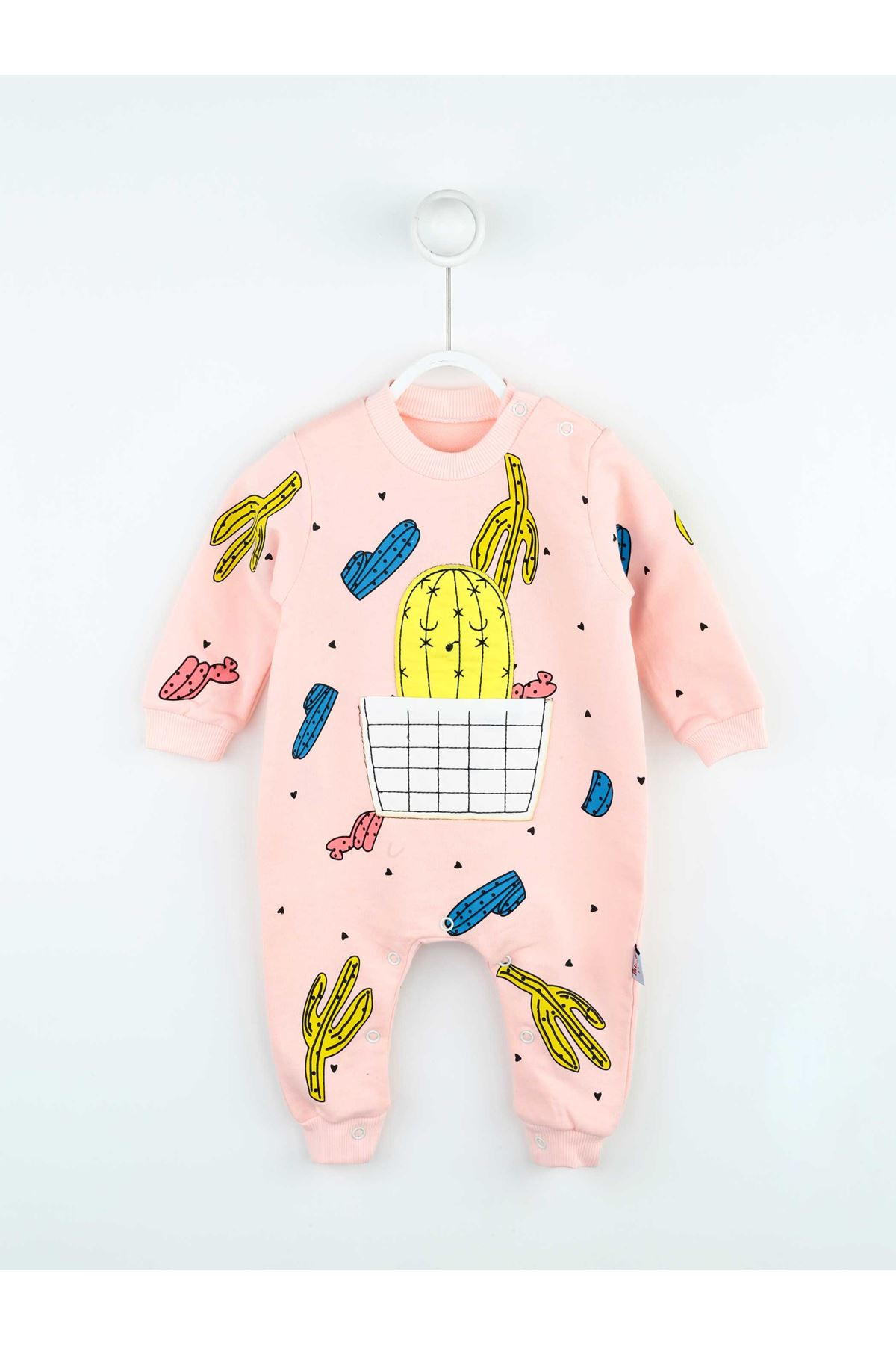 Pembe Kaktüs Desenli Kız Bebek Tulum