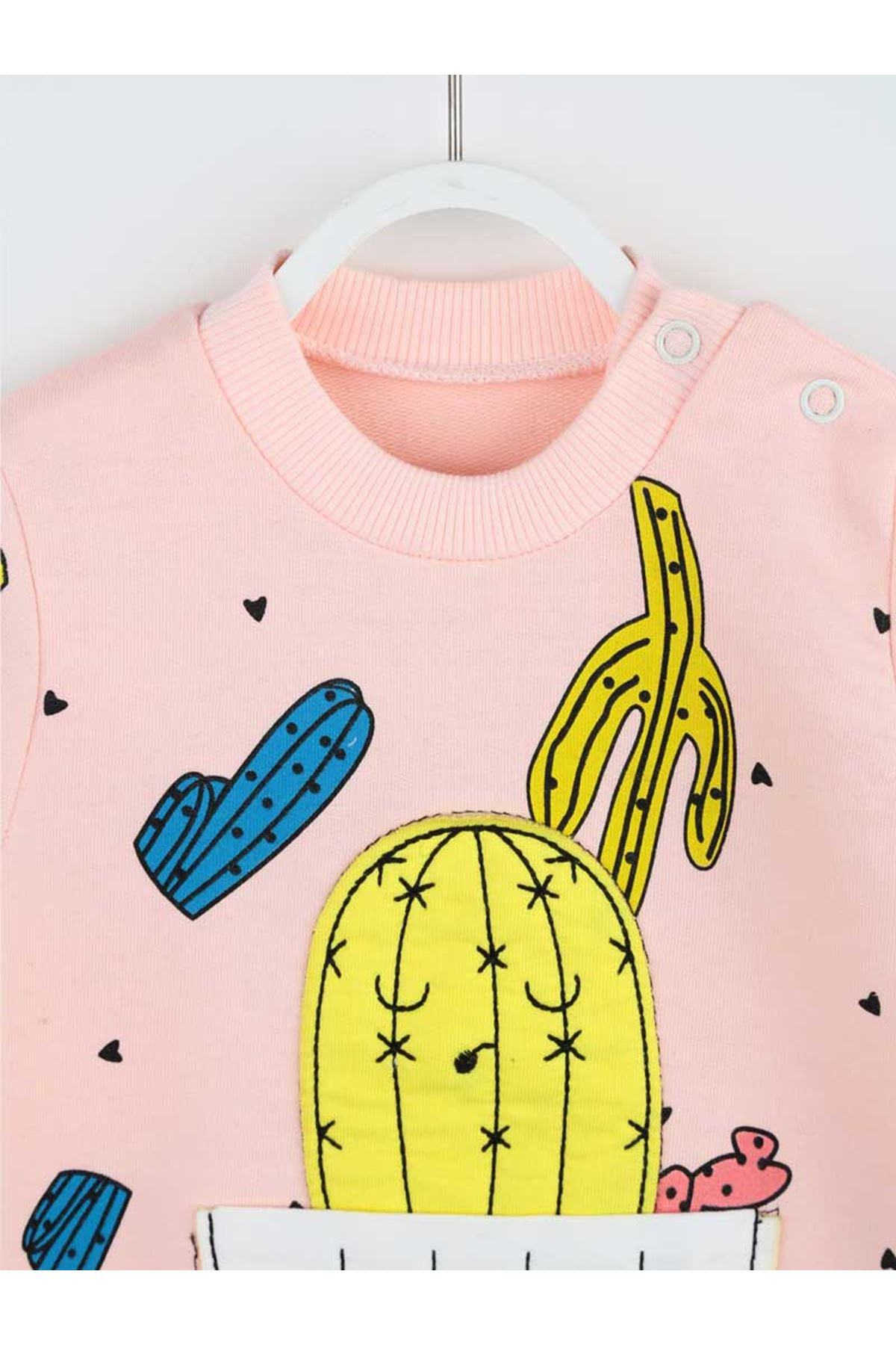 Pink Cactus Pattern Baby Girl Jumpsuit