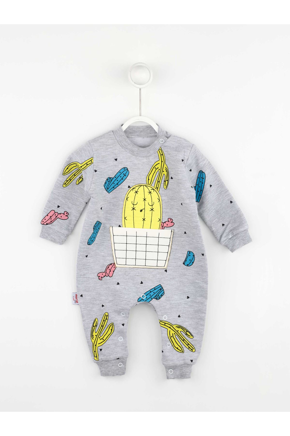 Gri Kaktüs Desenli Kız Bebek Tulum