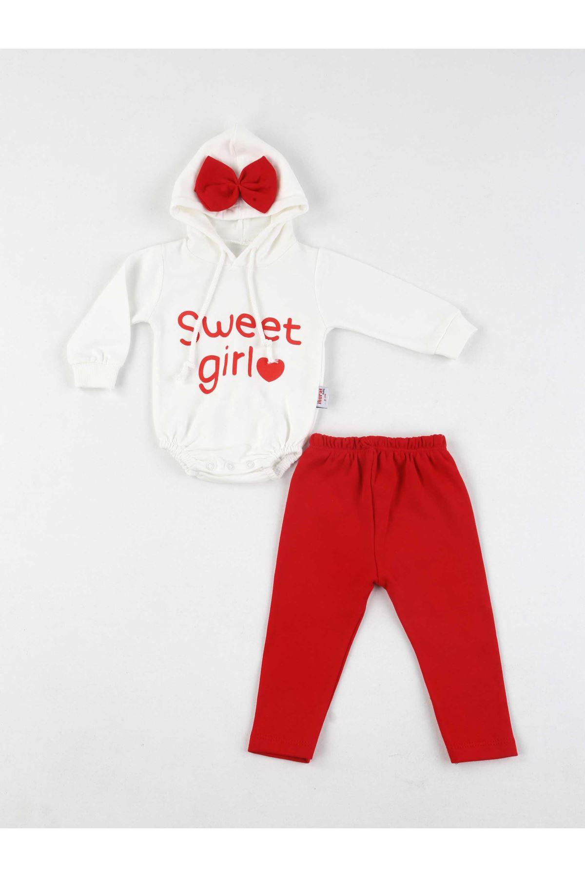 Kırmızı Kız Bebek 2 li Takım