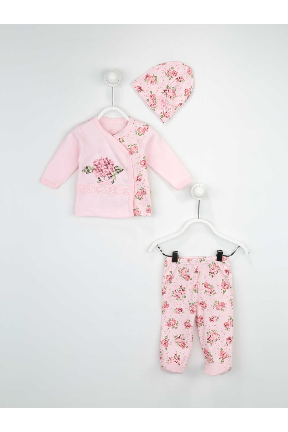 Pink Baby Girl Suit Rose Patterned Seasonal Clothes 3 Piece Girls Babies Clothing Outfit Models