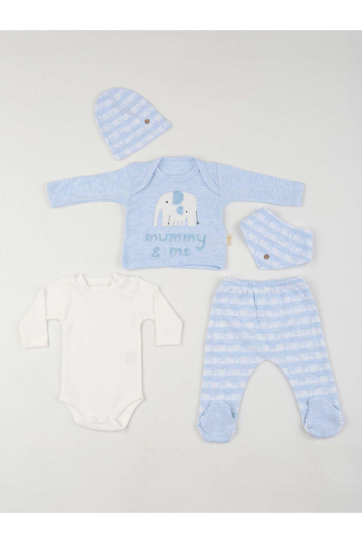 Mavi Erkek Bebek 5 li Zıbın Takım