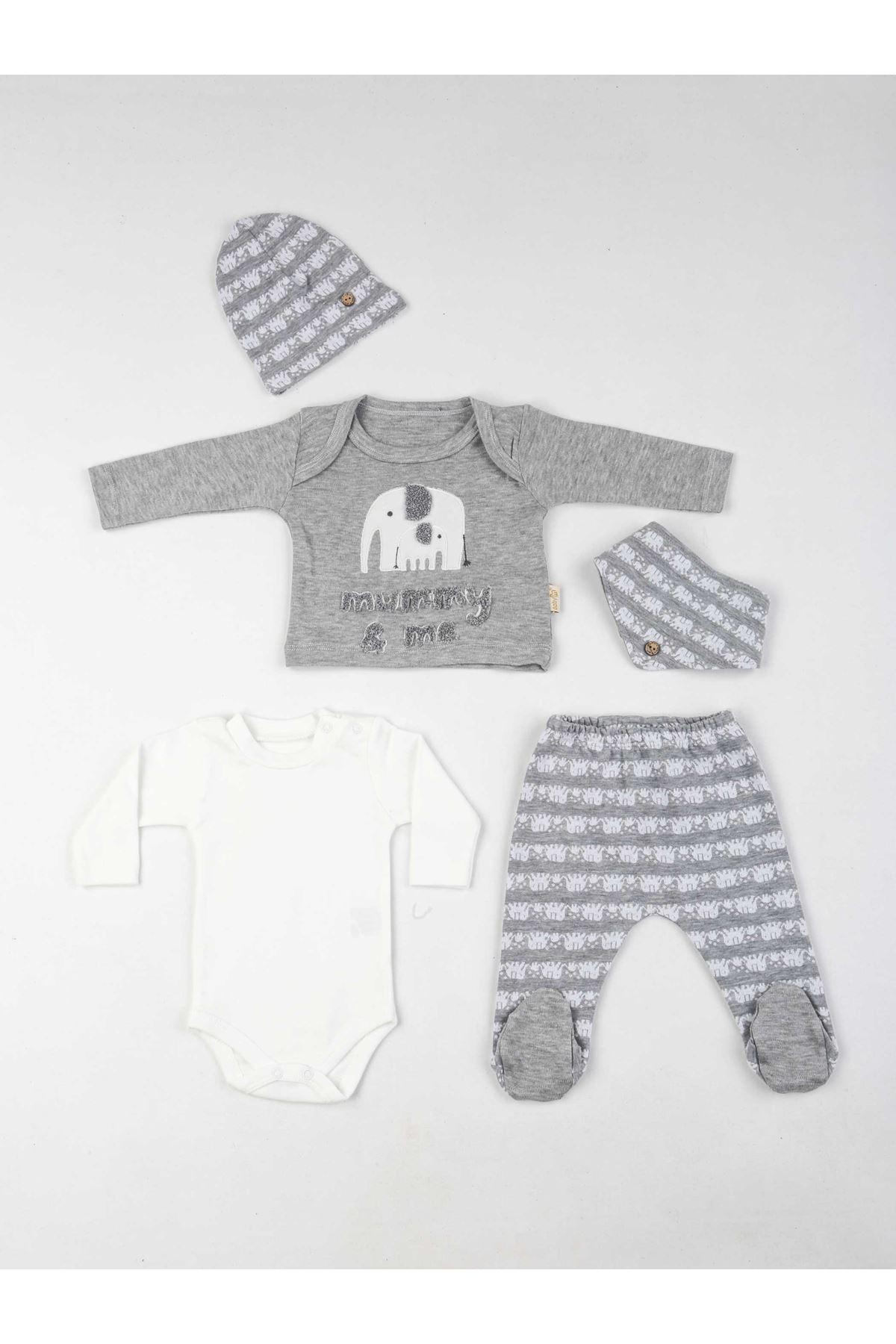 Gri Erkek Bebek 5 li Zıbın Takım
