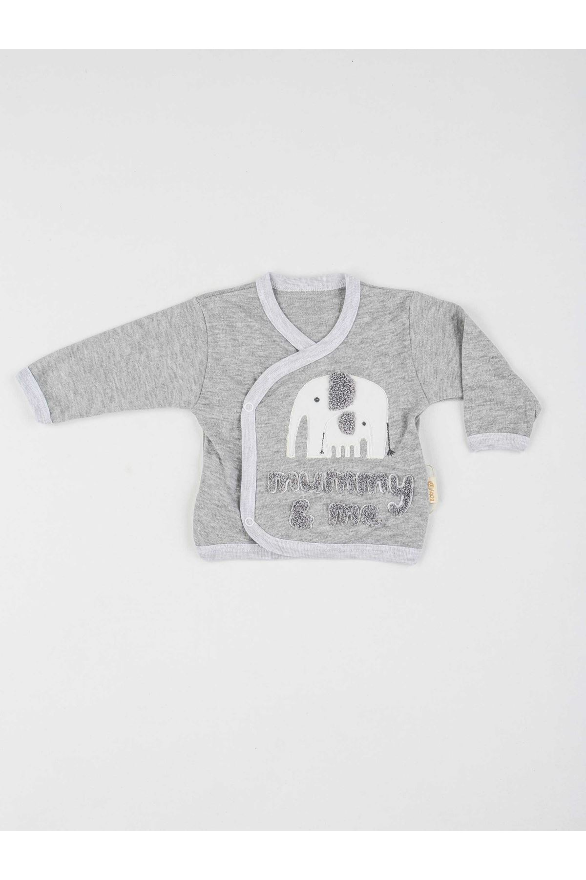 Grey Newborn baby boy 5 piece suit set cotton hospital out daily casual baby clothes style fashion models