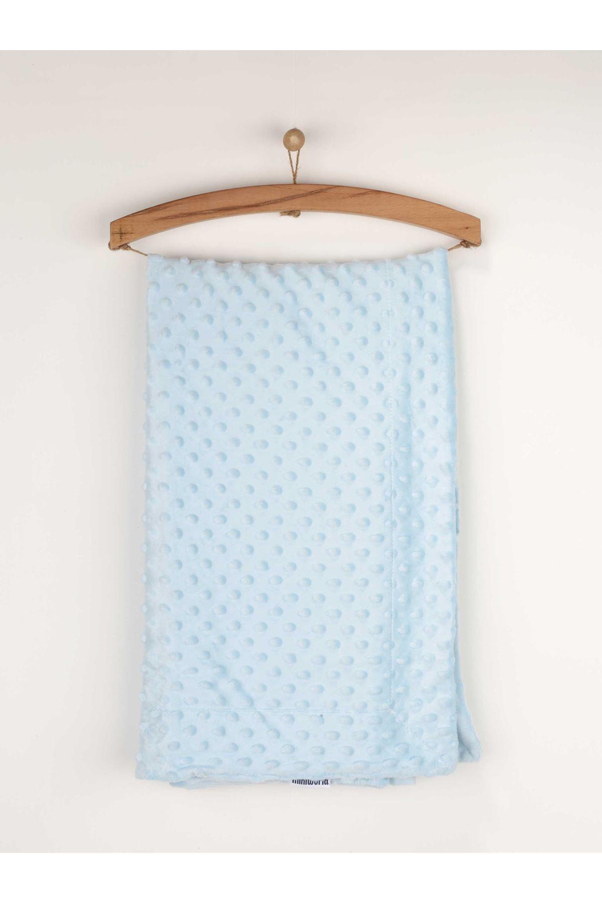 Mavi 80x100 cm Nohut Desen Erkek Bebek Battaniye