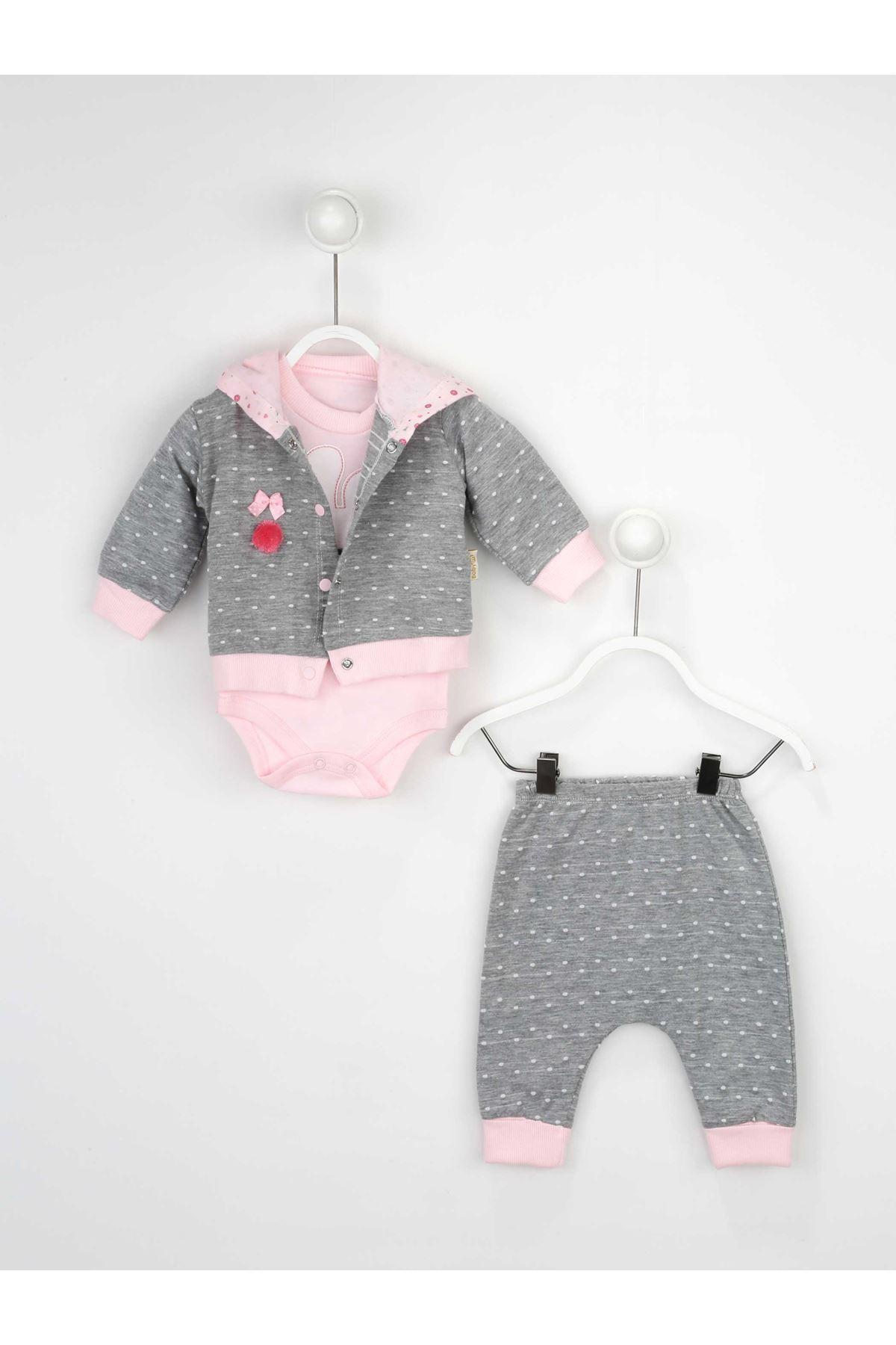 Gri Kız Bebek 3 lü Takım